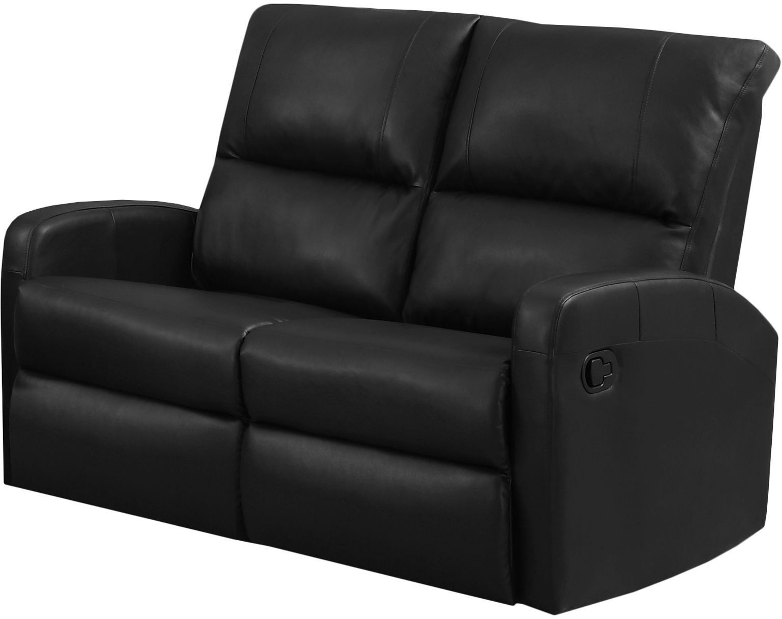 84bk 2 Black Bonded Leather Reclining Loveseat From Monarch Coleman Furniture