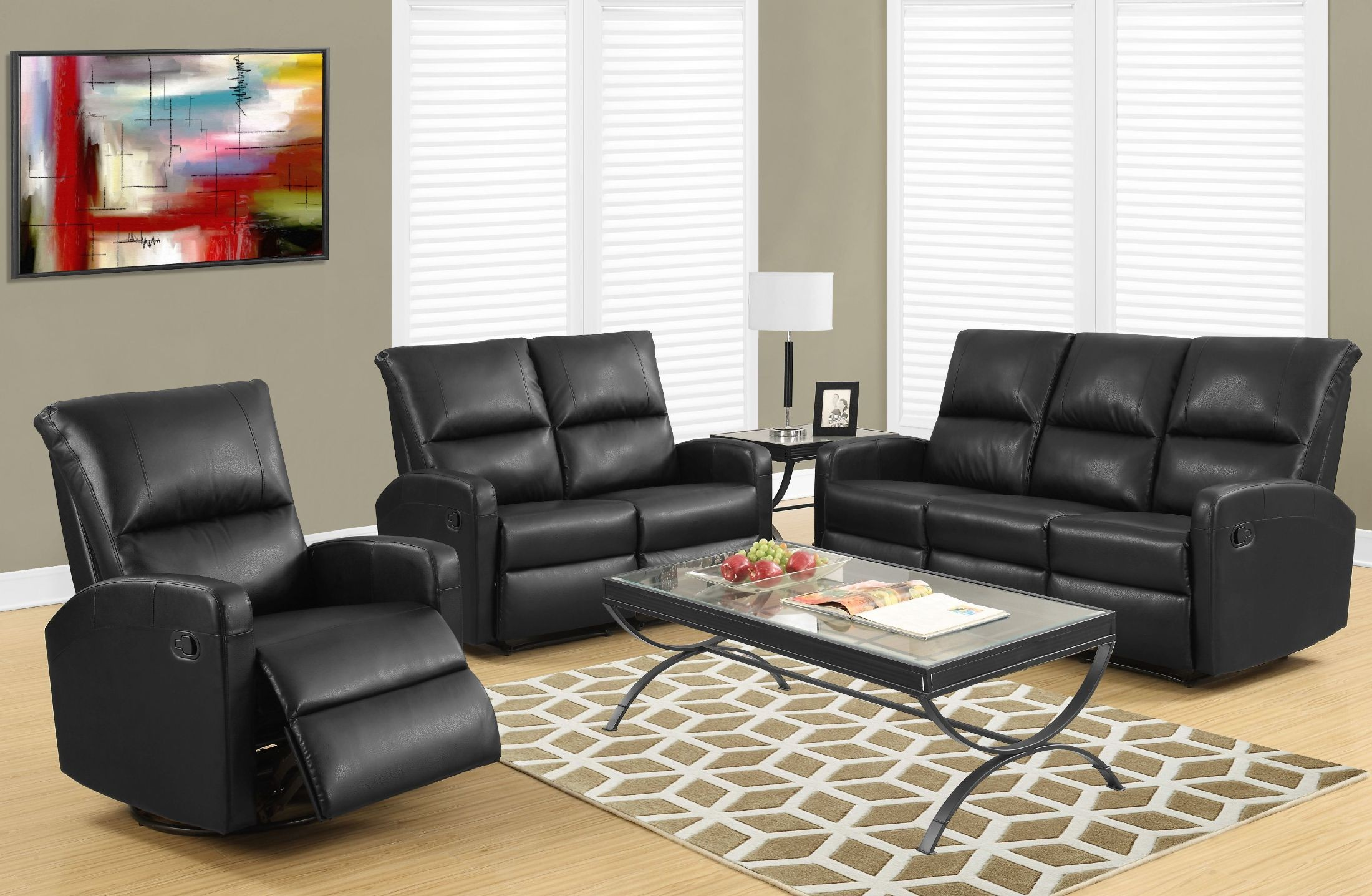 84bk 3 black bonded leather reclining living room set from monarch coleman furniture. Black Bedroom Furniture Sets. Home Design Ideas