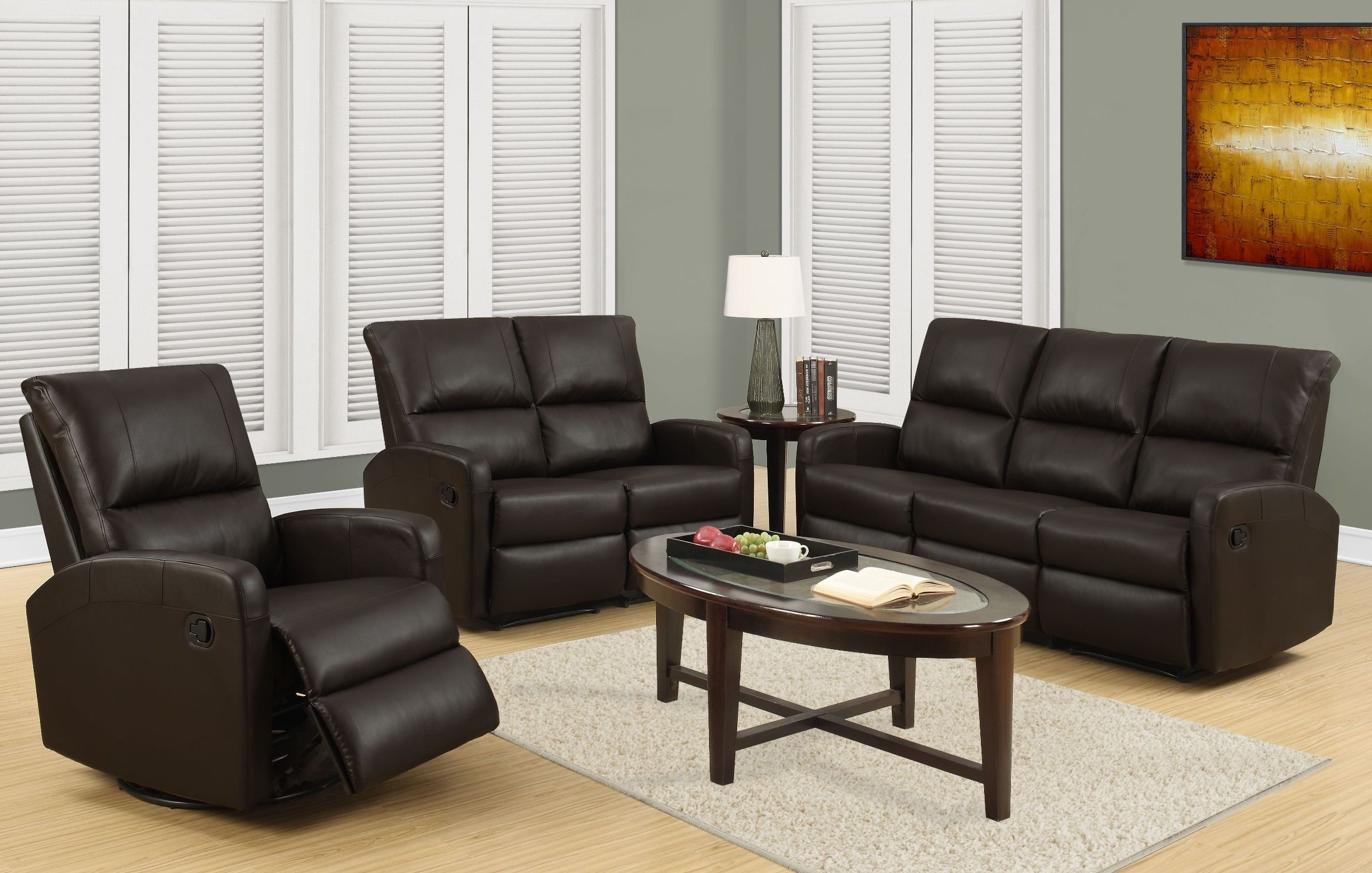 Living Room Furniture: 84BR-3 Dark Brown Bonded Leather Reclining Living Room Set