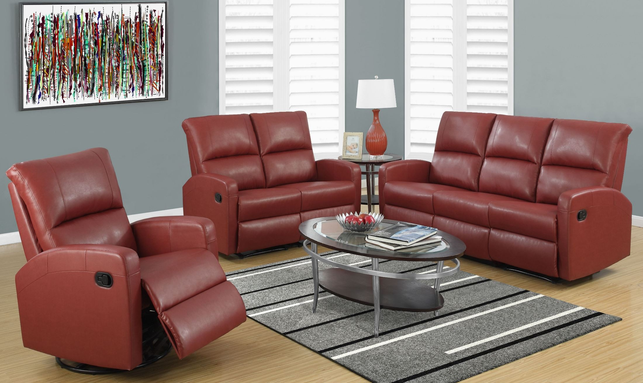 Red Bonded Leather Reclining Living Room Set From Monarch Coleman Furniture