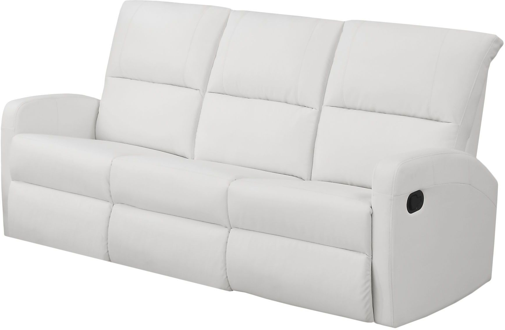 84wh 3 White Bonded Leather Reclining Sofa From Monarch