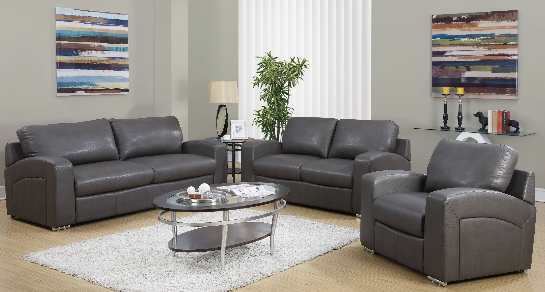 Charcoal Gray Match Living Room Set From Monarch (8503GY