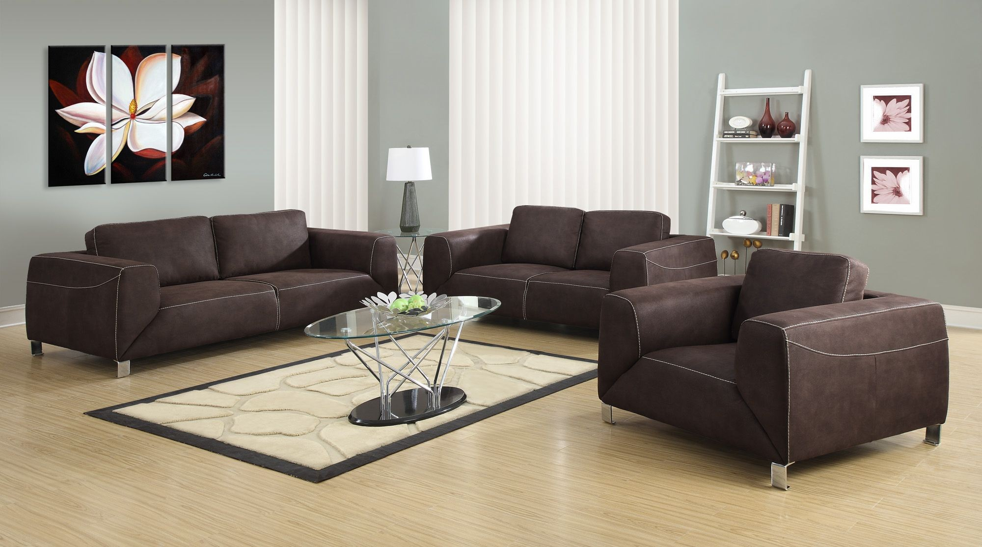 Chocolate brown tan contrast micro suede sofa from - Brown suede living room furniture ...