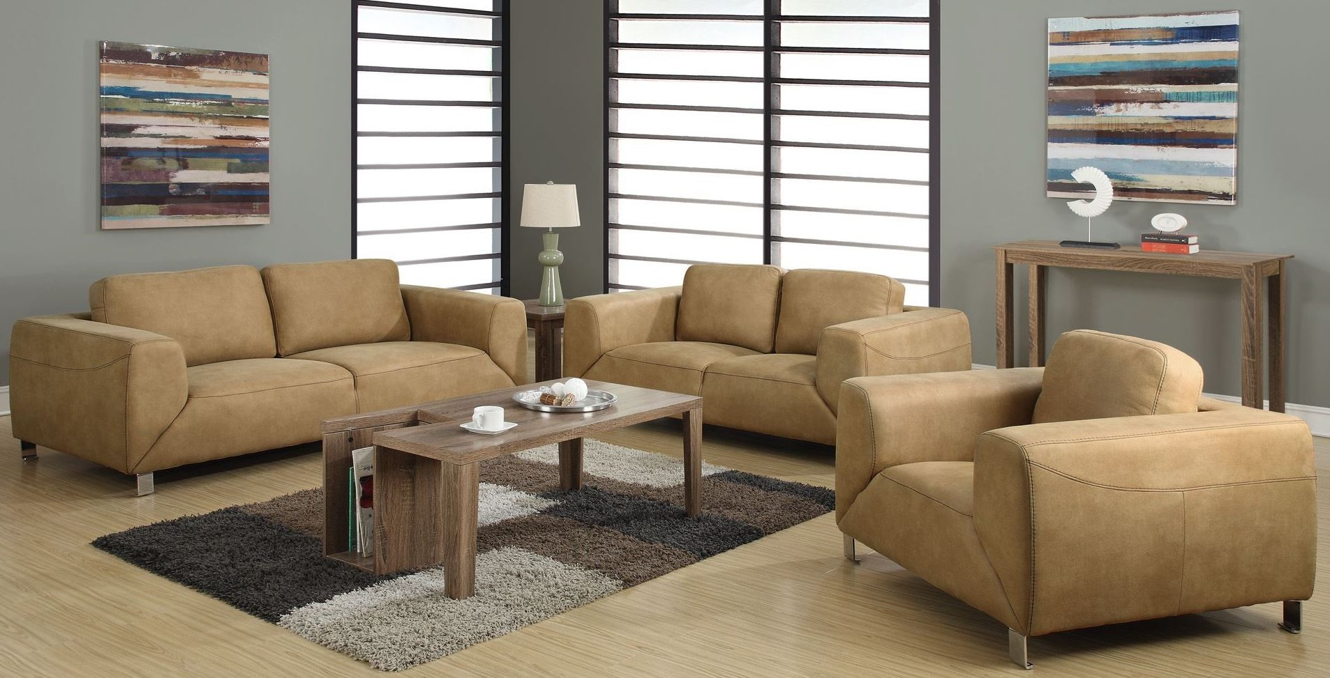 Tan chocolate brown contrast micro suede living room set from monarch 8513tn coleman furniture for Microsuede living room furniture