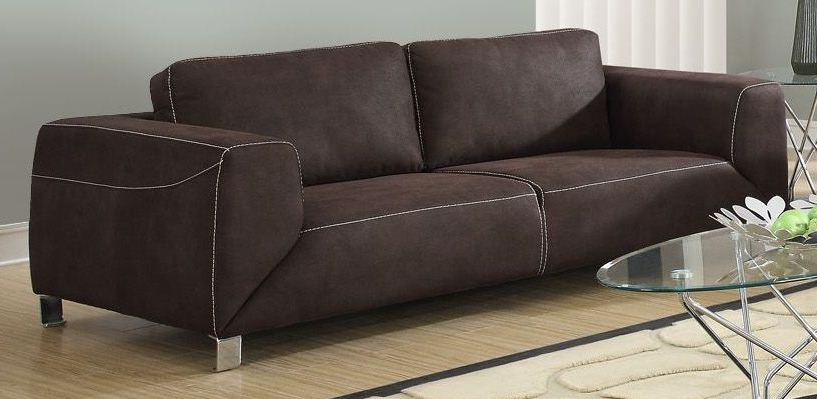 Chocolate brown tan contrast micro suede sofa from for Suede furniture