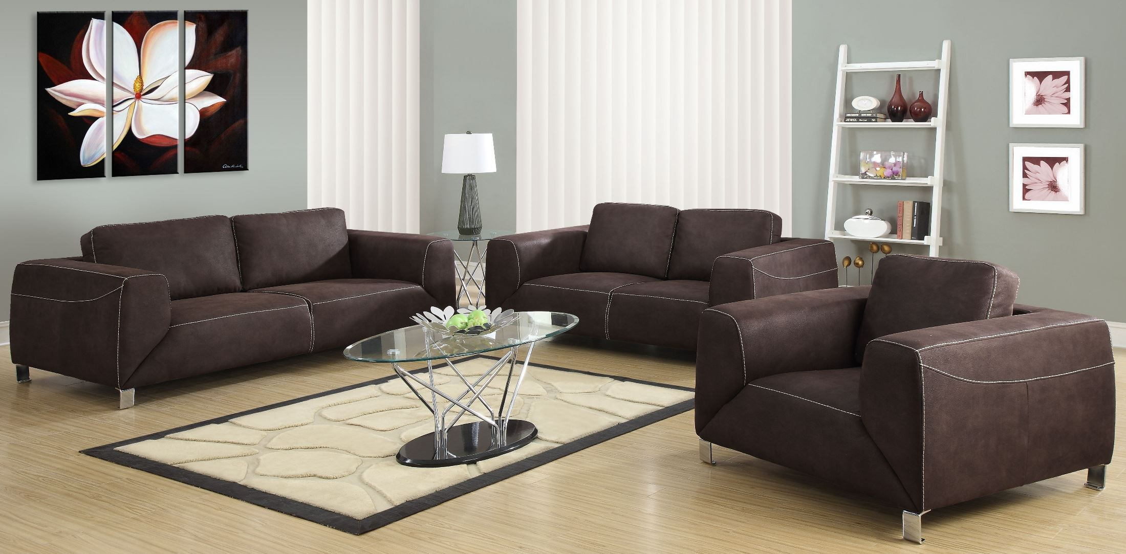 Chocolate brown micro suede living room set from monarch 8513br coleman furniture for Microsuede living room furniture