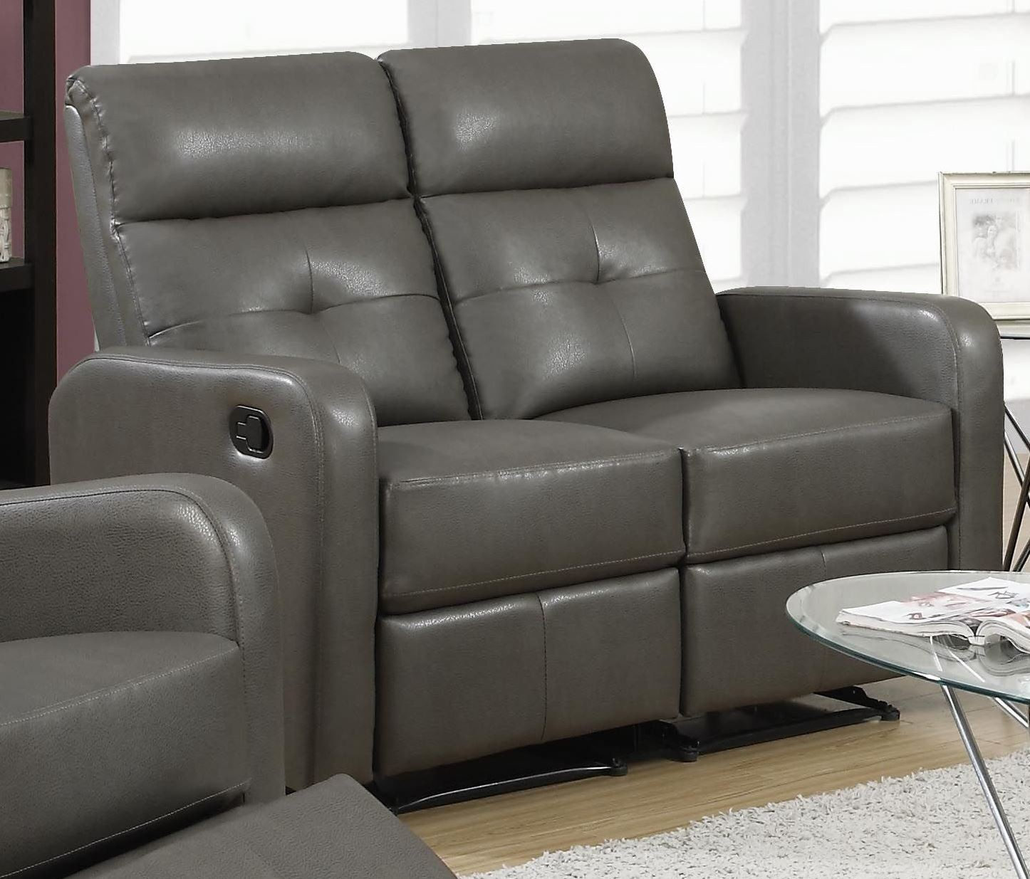85gy 2 Charcoal Gray Bonded Leather Reclining Loveseat From Monarch Coleman Furniture