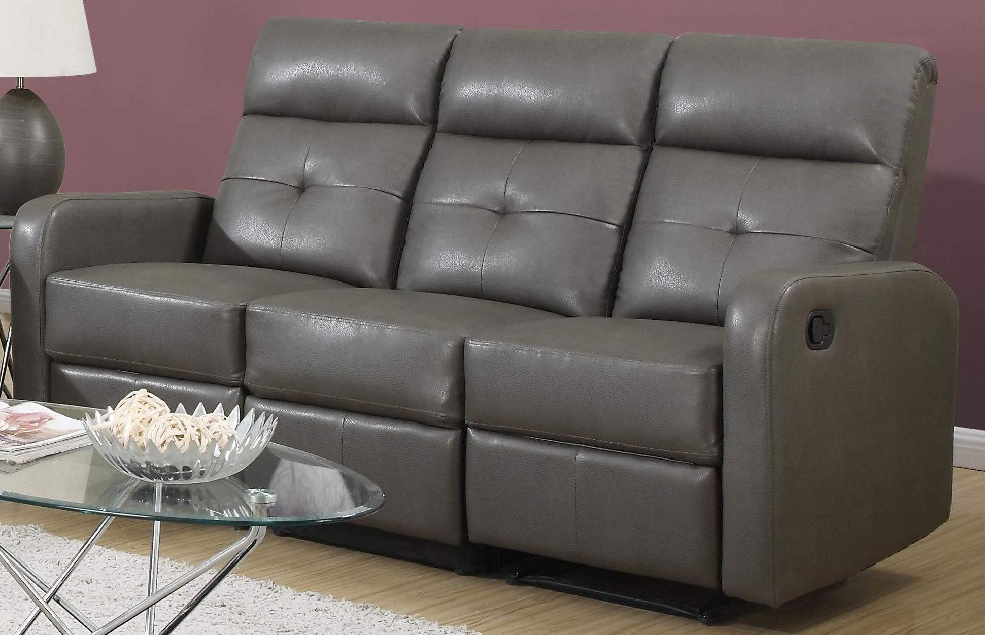 85gy 3 charcoal grey bonded leather reclining sofa 85gy 3 monarch. Black Bedroom Furniture Sets. Home Design Ideas