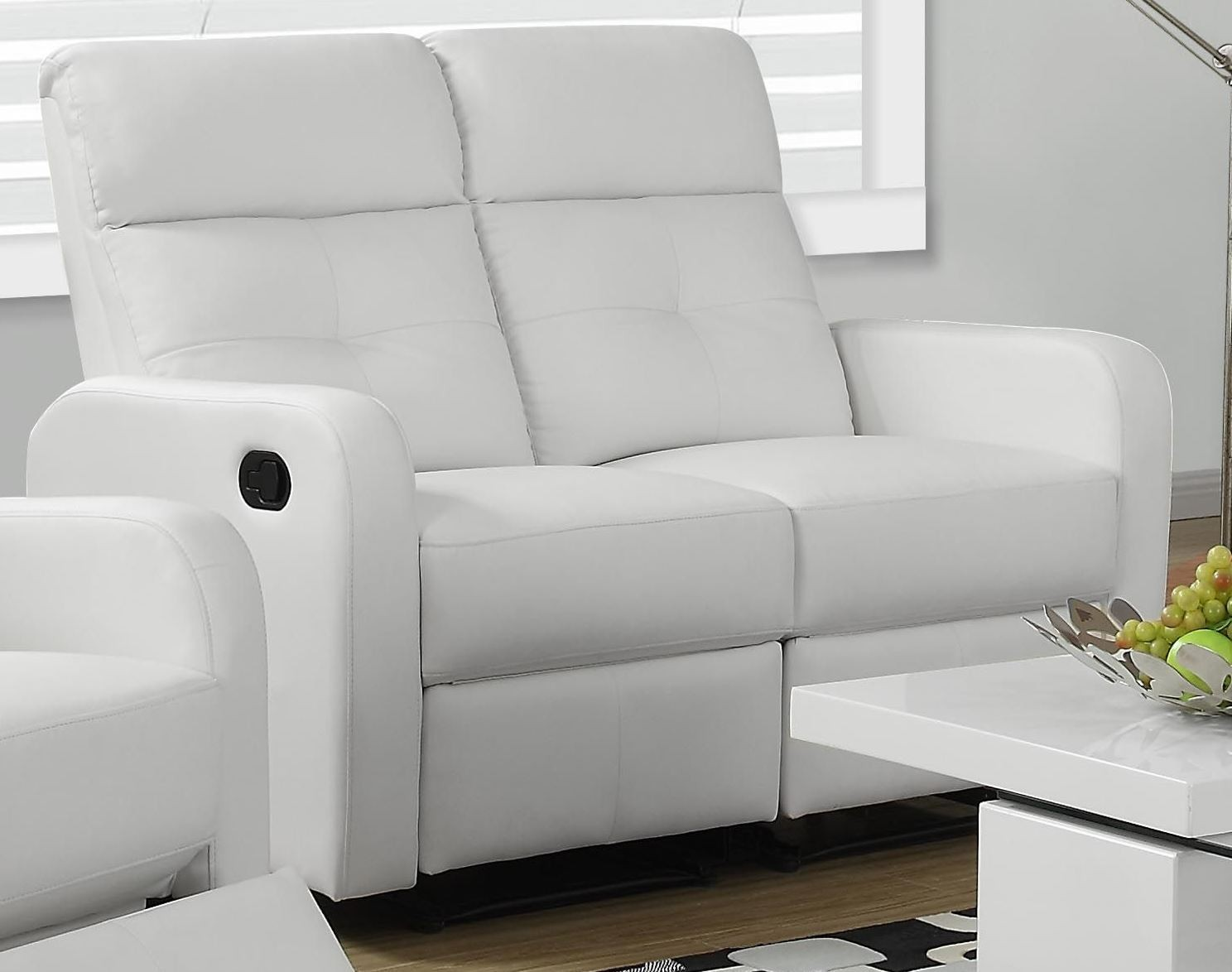 85wh 2 White Bonded Leather Reclining Loveseat From Monarch Coleman Furniture