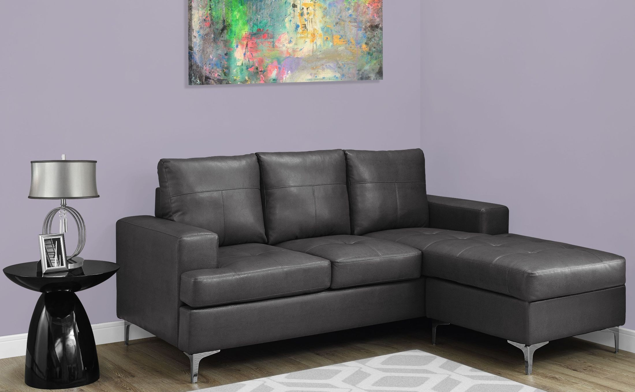 charcoal gray bonded leather sofa lounger from monarch coleman furniture. Black Bedroom Furniture Sets. Home Design Ideas