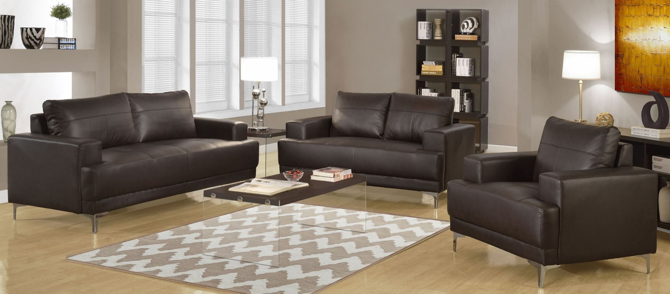 Furniture For Living Rooms: Brown Bonded Leather Living Room Set From Monarch