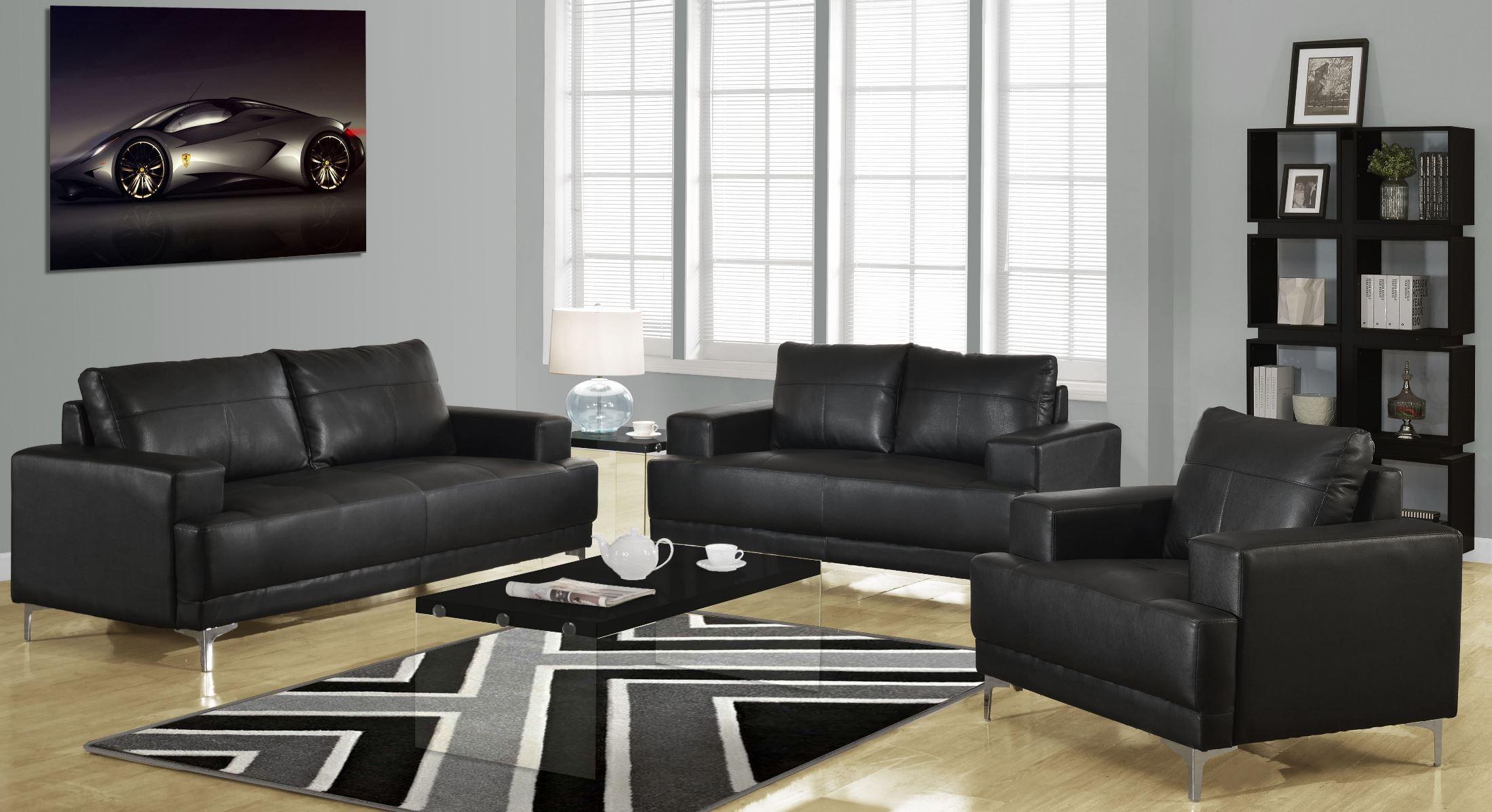 8603bk black bonded leather living room set from monarch for Black leather living room furniture sets