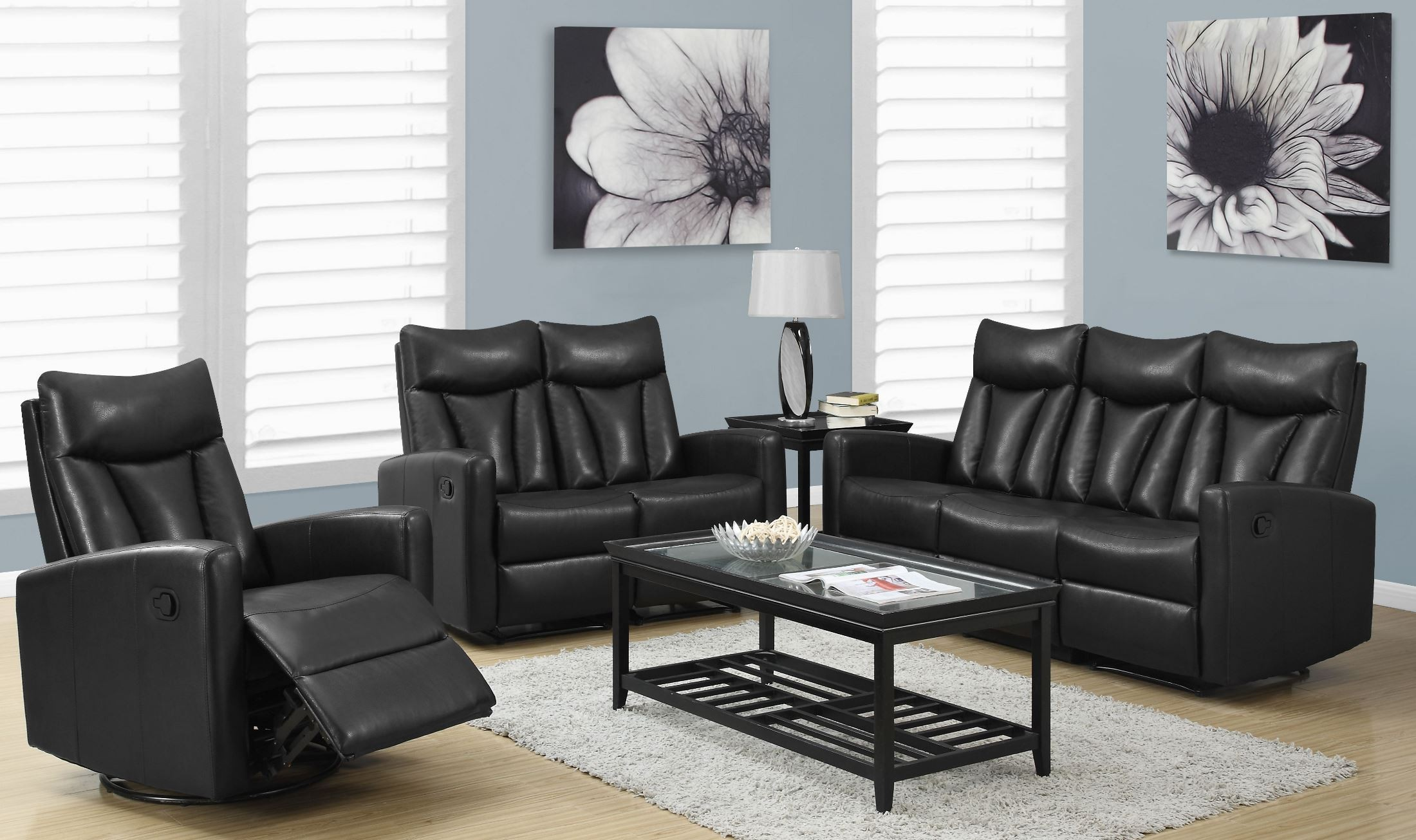 87bk 3 black bonded leather reclining living room set from monarch coleman furniture for Living room with black leather furniture