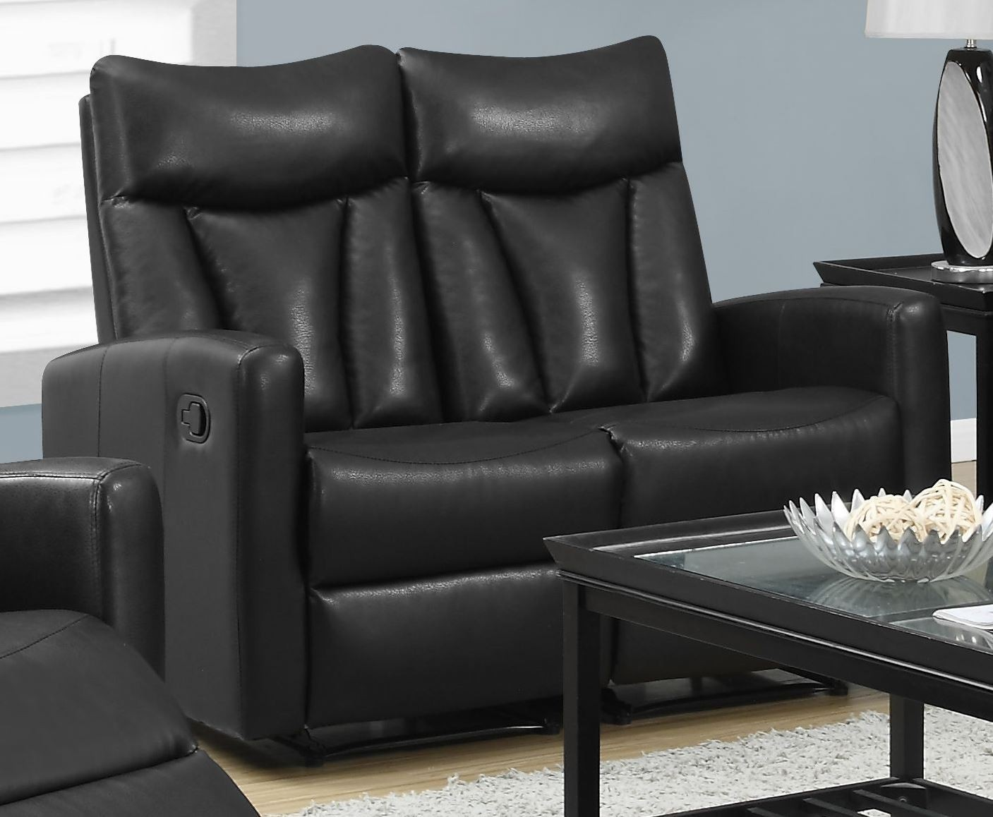 87bk 2 Black Bonded Leather Reclining Loveseat From Monarch Coleman Furniture