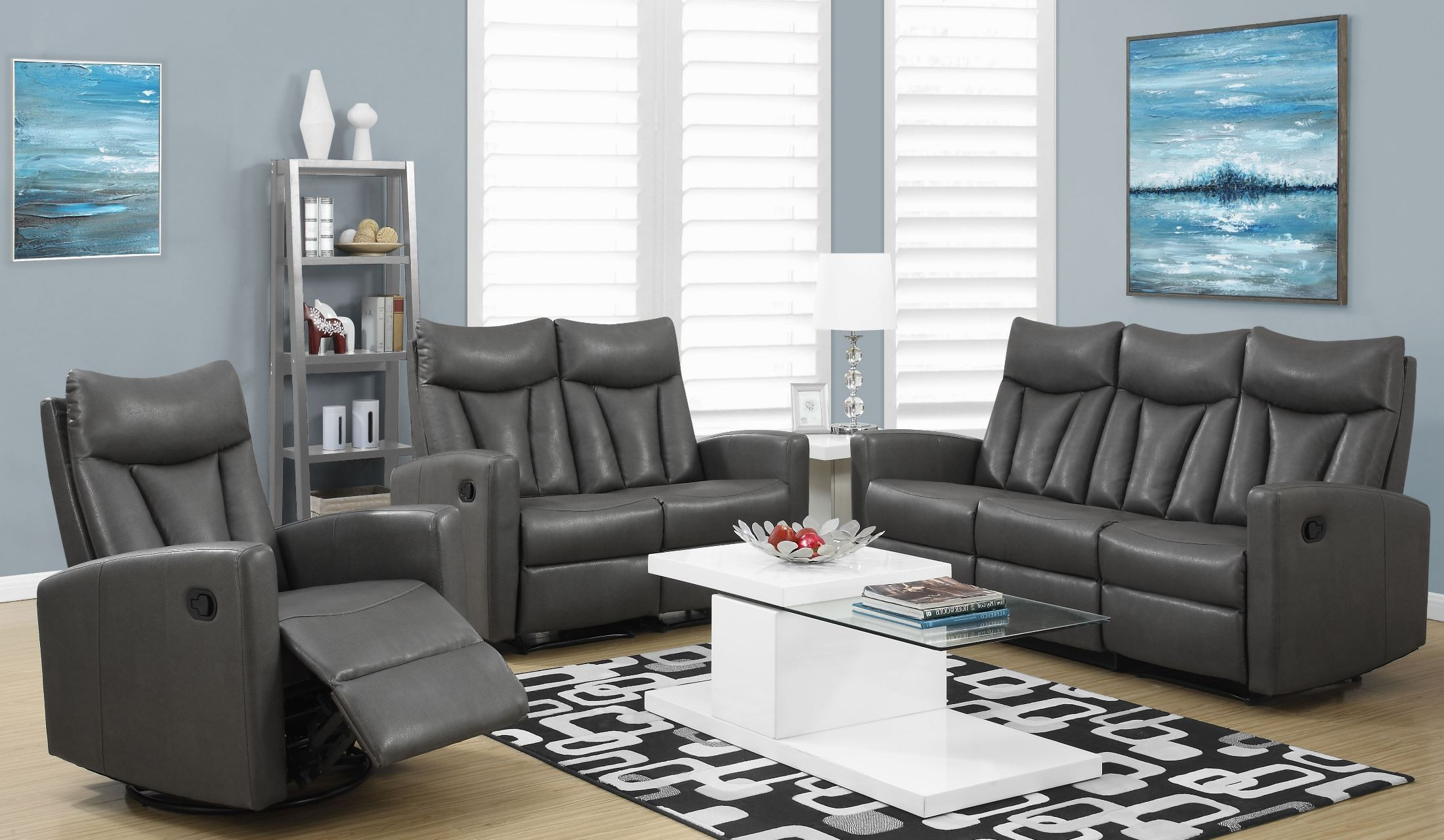 87gy 3 Charcoal Gray Bonded Leather Reclining Living Room