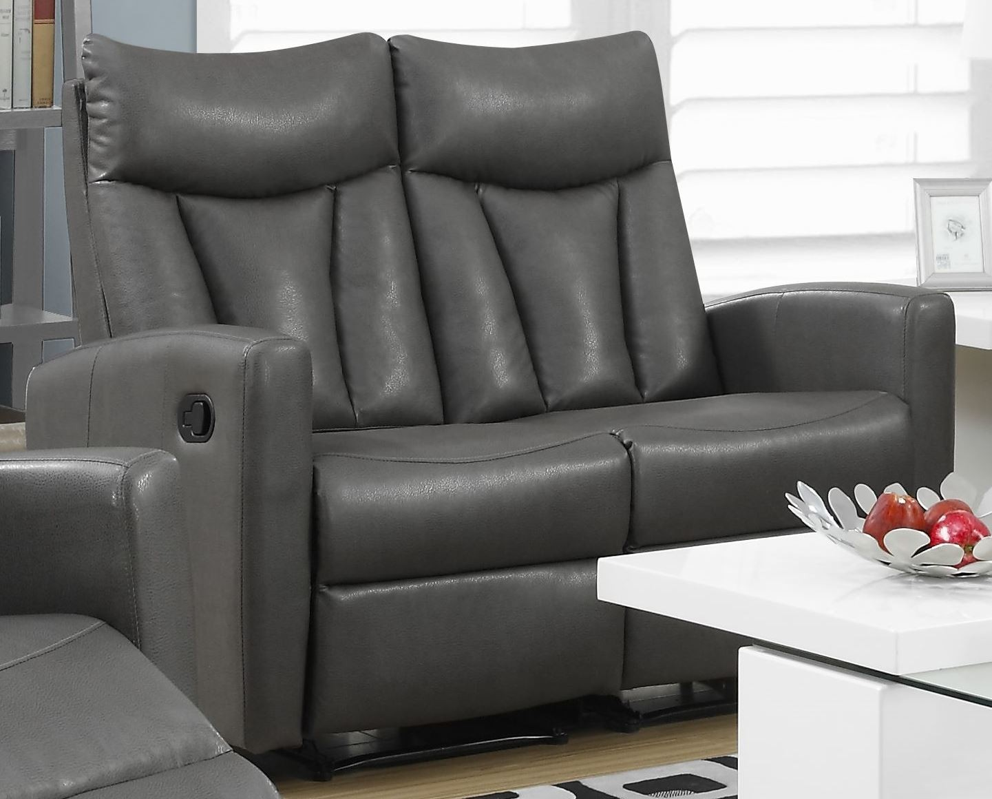 87gy 2 Charcoal Gray Bonded Leather Reclining Loveseat