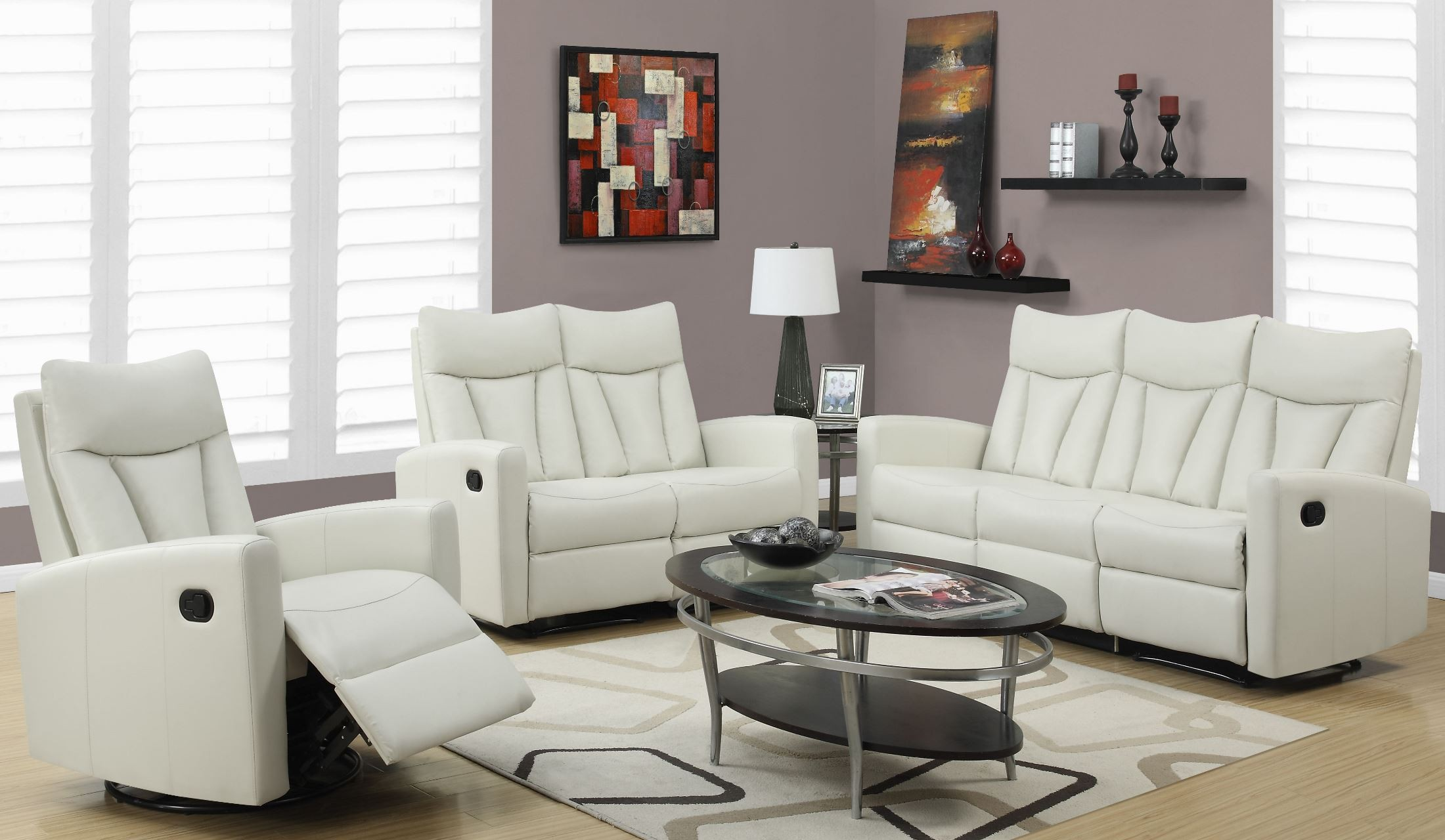 87iv 3 ivory bonded leather reclining living room set from for Front room furniture sets