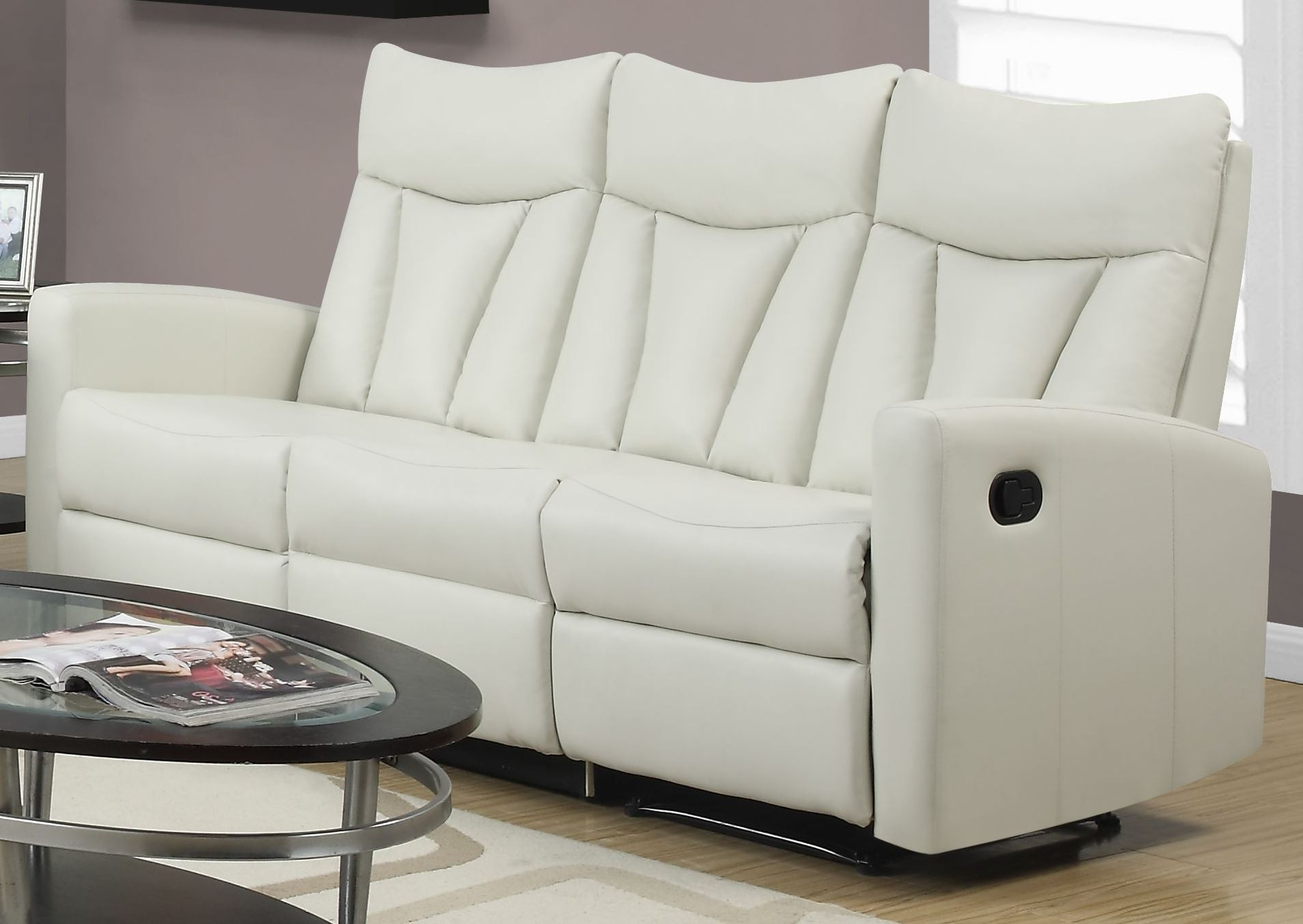 87iv 3 Ivory Bonded Leather Reclining Sofa From Monarch