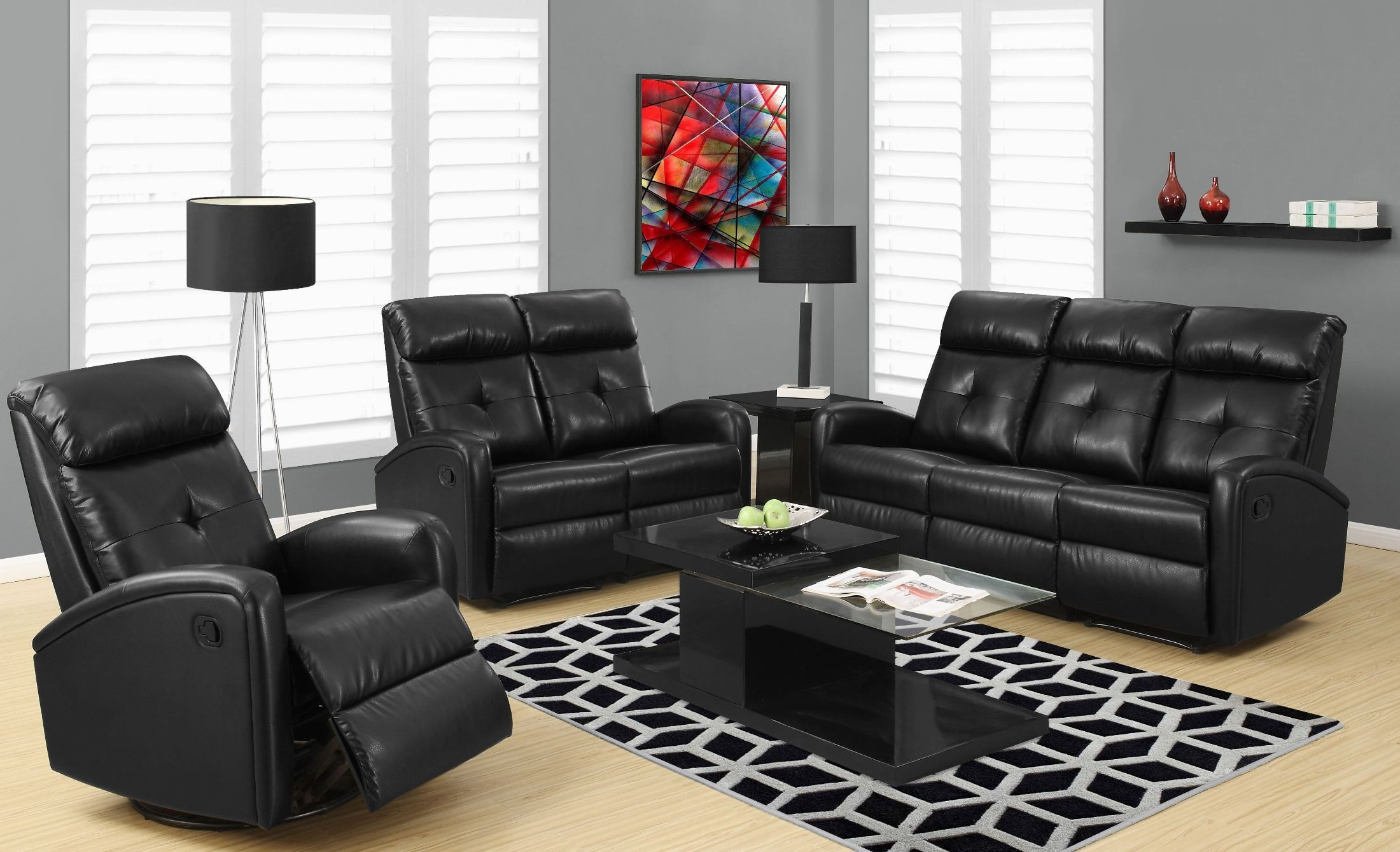 88bk 3 Black Bonded Leather Reclining Living Room Set From