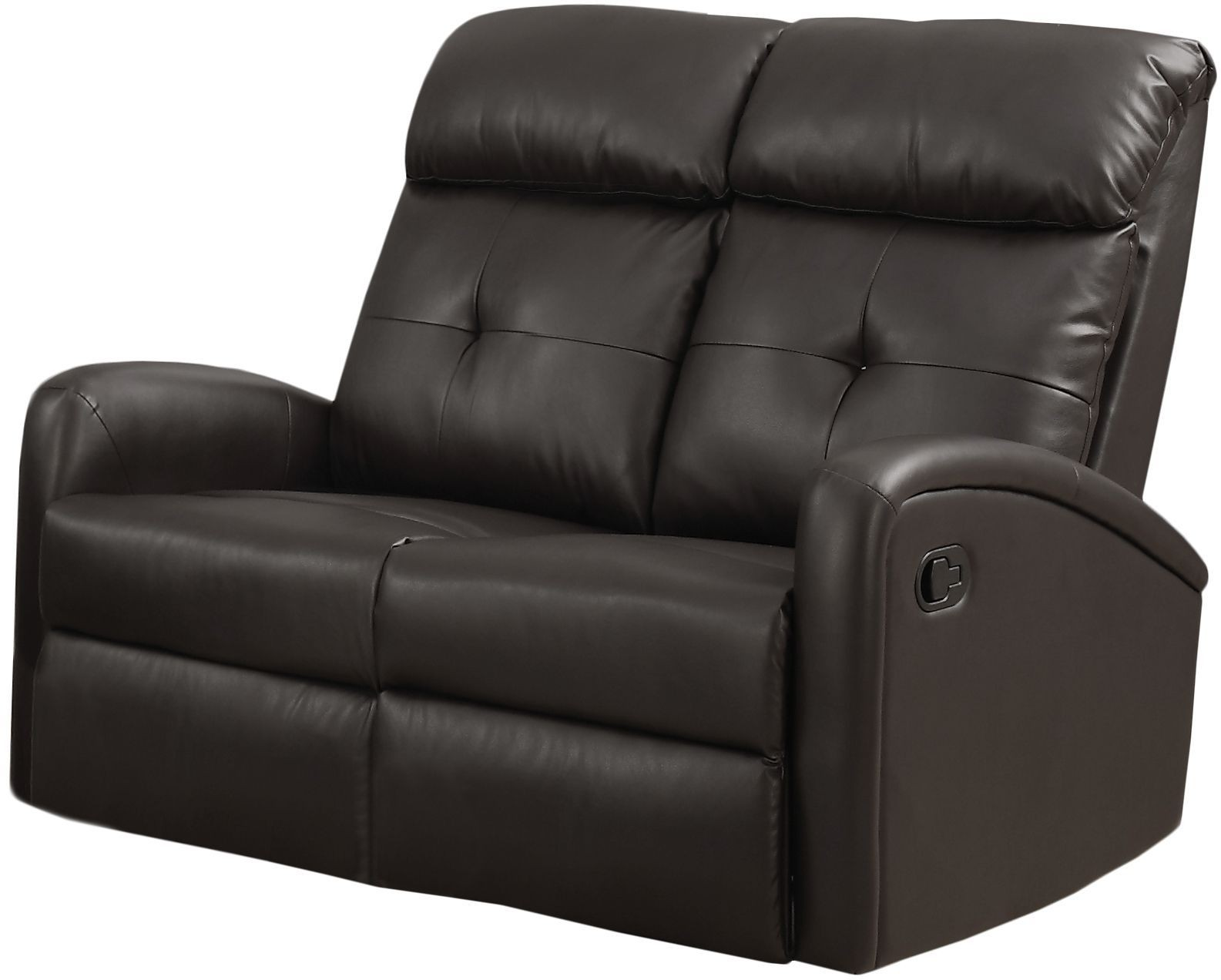88br 2 Dark Brown Bonded Leather Reclining Loveseat From Monarch Coleman Furniture