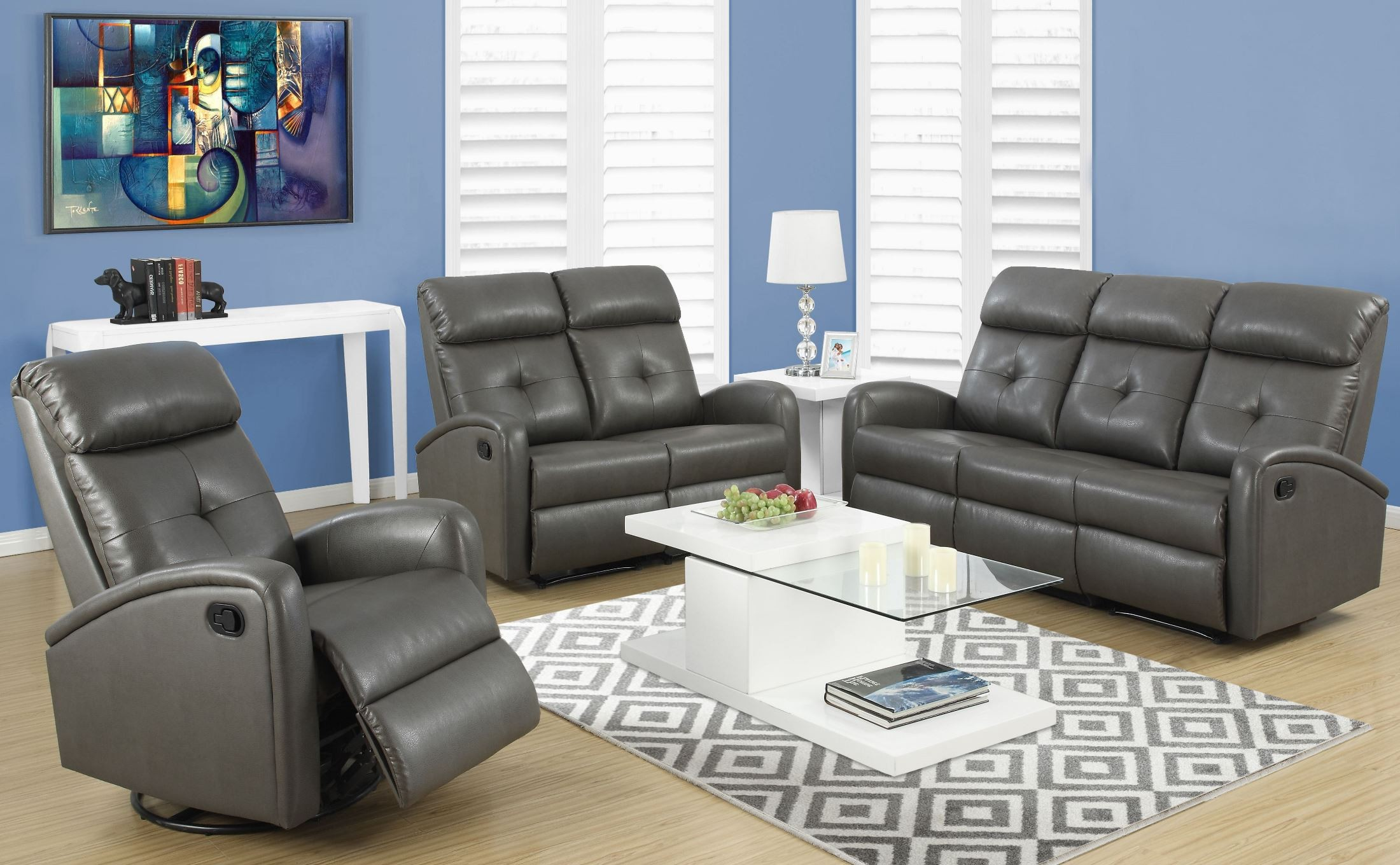 88gy 3 Charcoal Gray Bonded Leather Reclining Living Room: reclining living room furniture