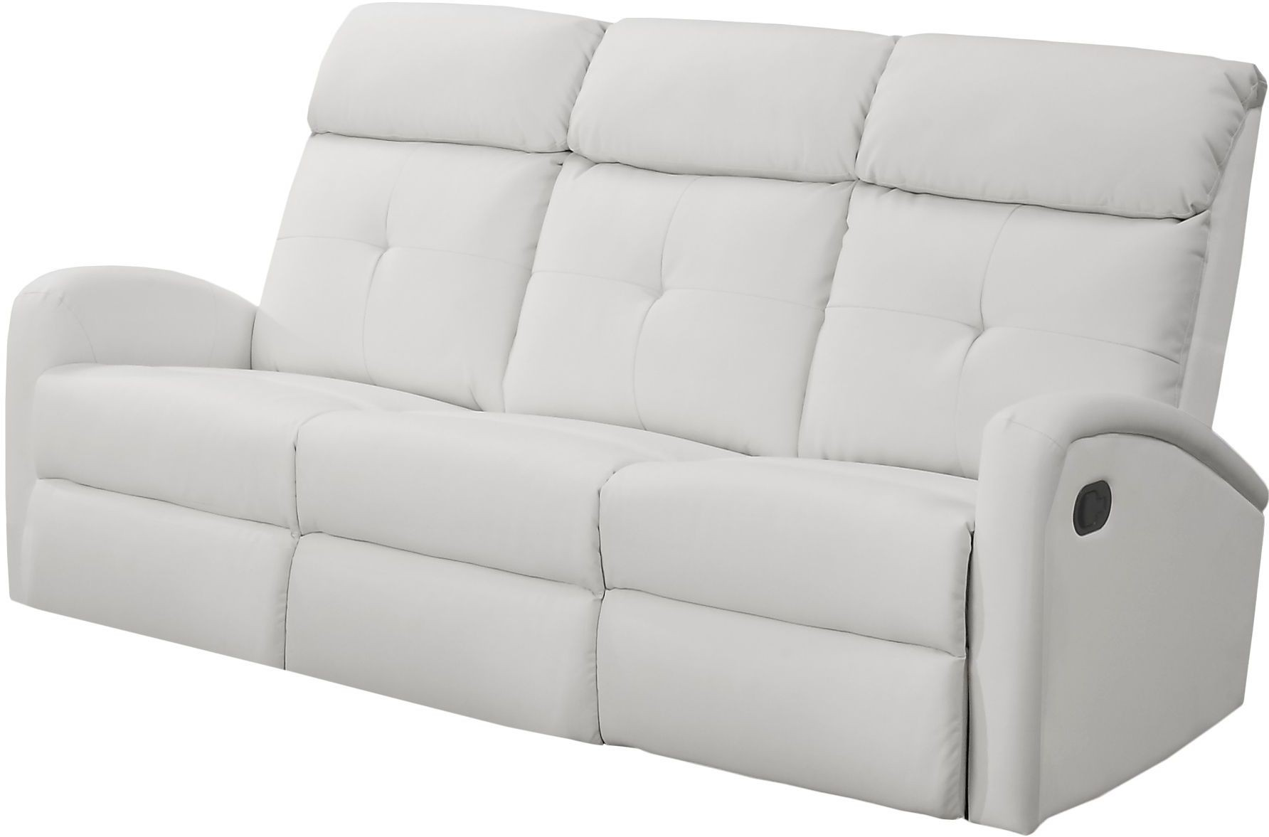 88wh 3 White Bonded Leather Reclining Sofa From Monarch