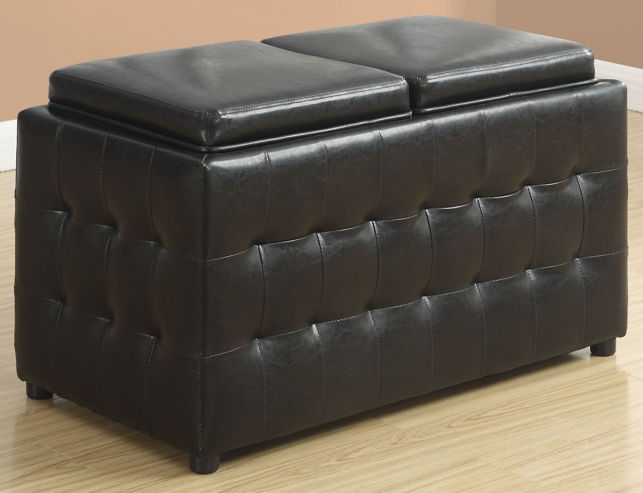 dark brown leather storage trays ottoman from monarch coleman furniture. Black Bedroom Furniture Sets. Home Design Ideas