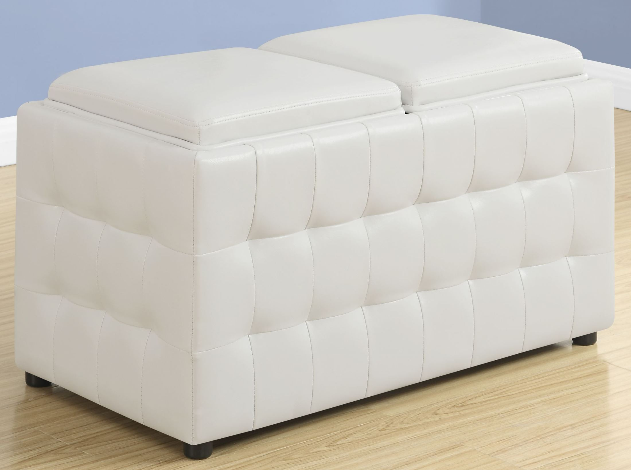 white leather storage trays ottoman from monarch coleman furniture. Black Bedroom Furniture Sets. Home Design Ideas