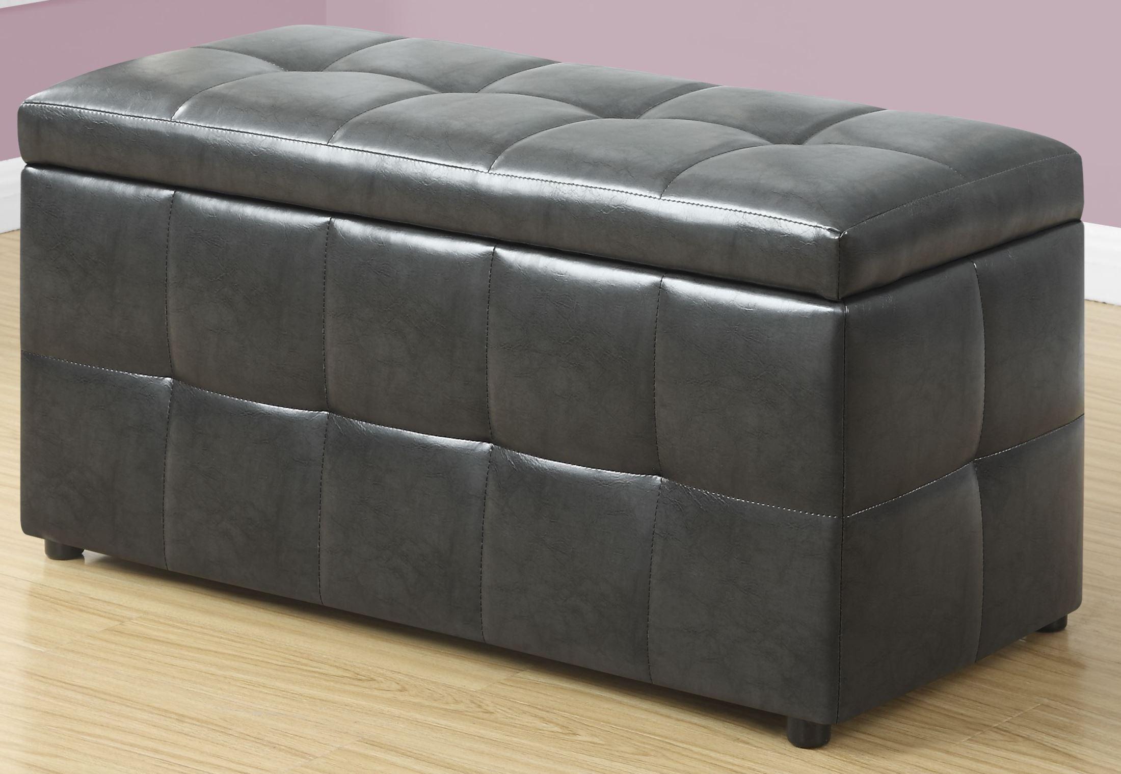 Charcoal Grey Leather Storage Ottoman, 8987, Monarch