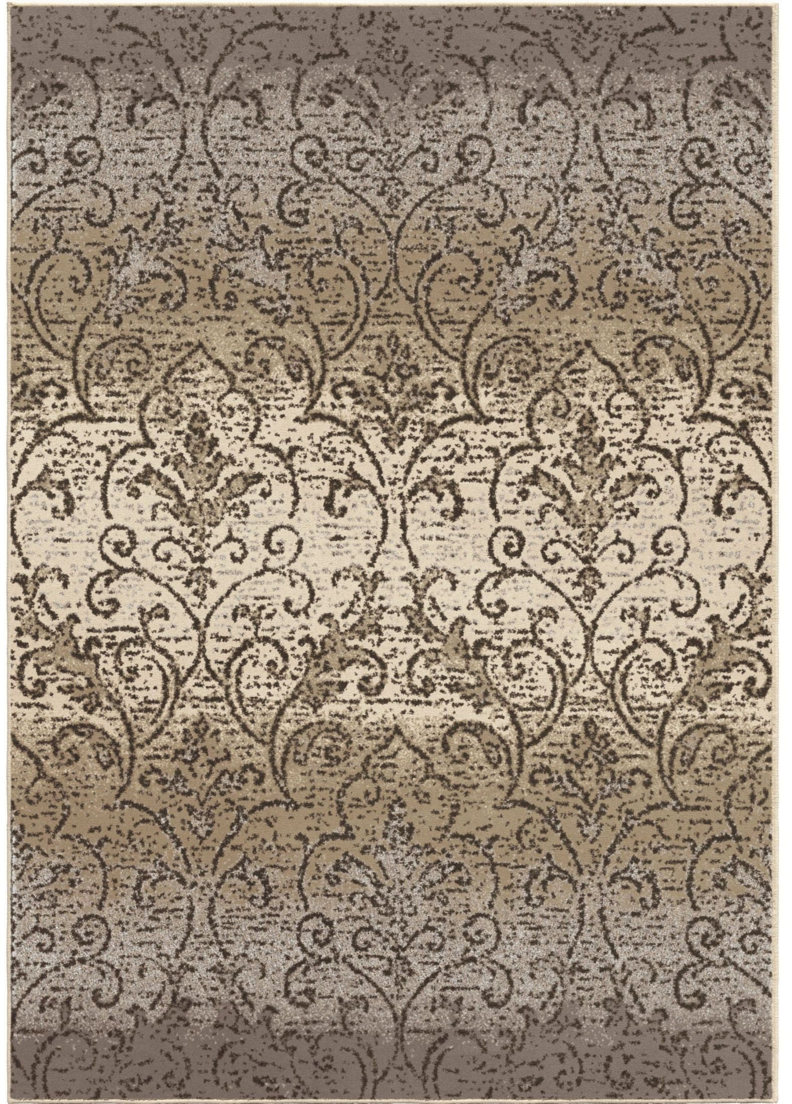 Epiphany Soft Scroll Fontaine Gray Large Area Rug From