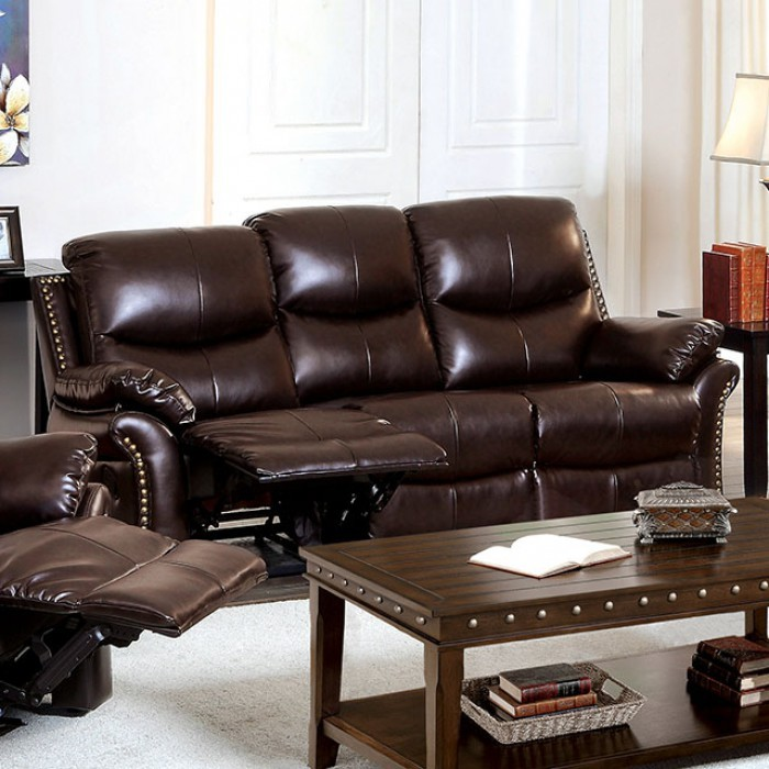 Dudhope rustic dark brown reclining living room set from for Dark brown living room set