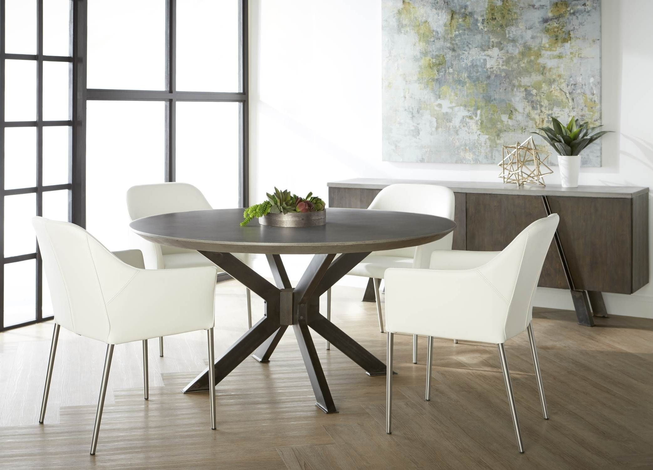 Industry Ash Grey Concrete Round Dining Room Set with Orchard High ...