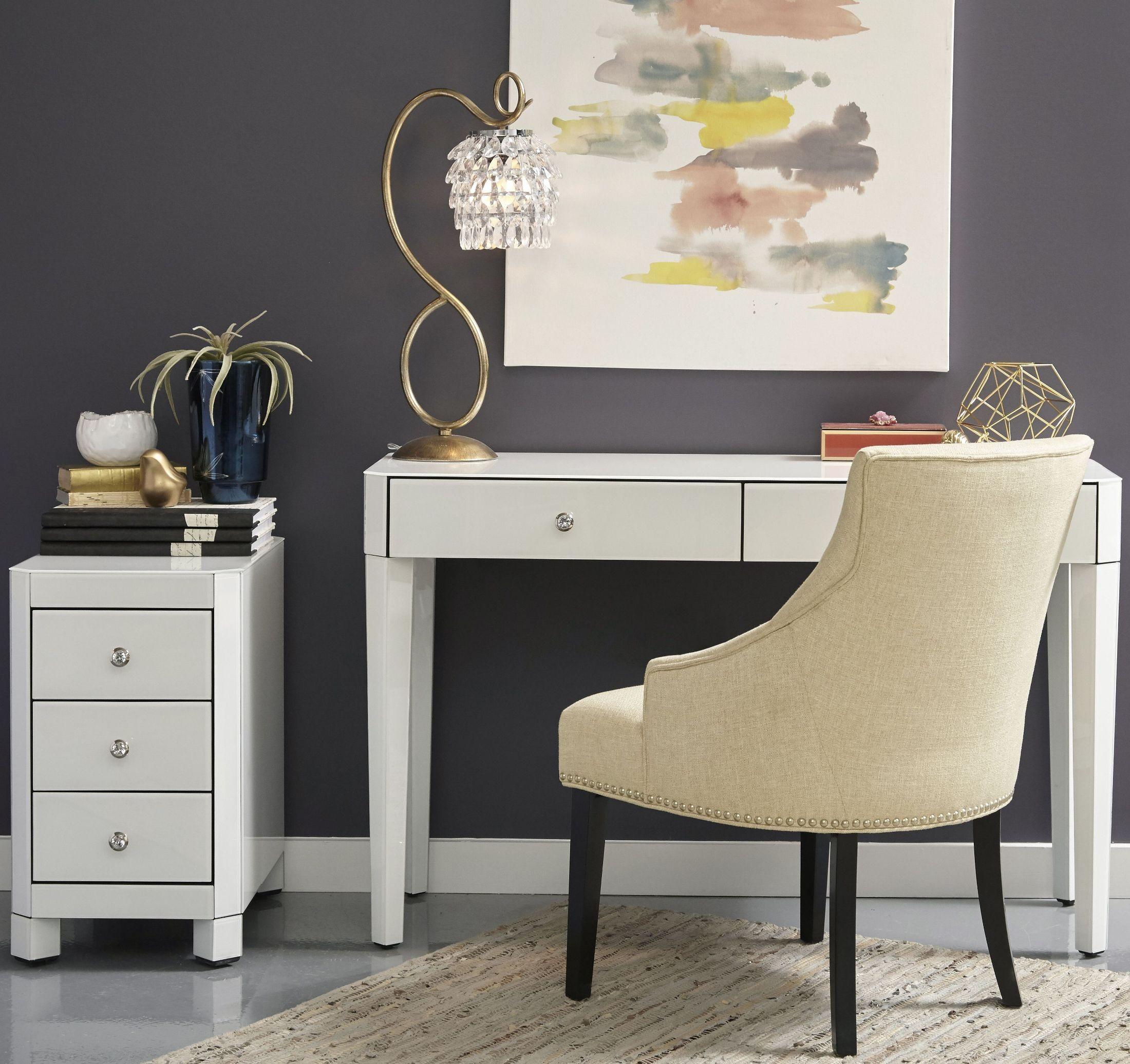 Reverse Painted White Glass Desk