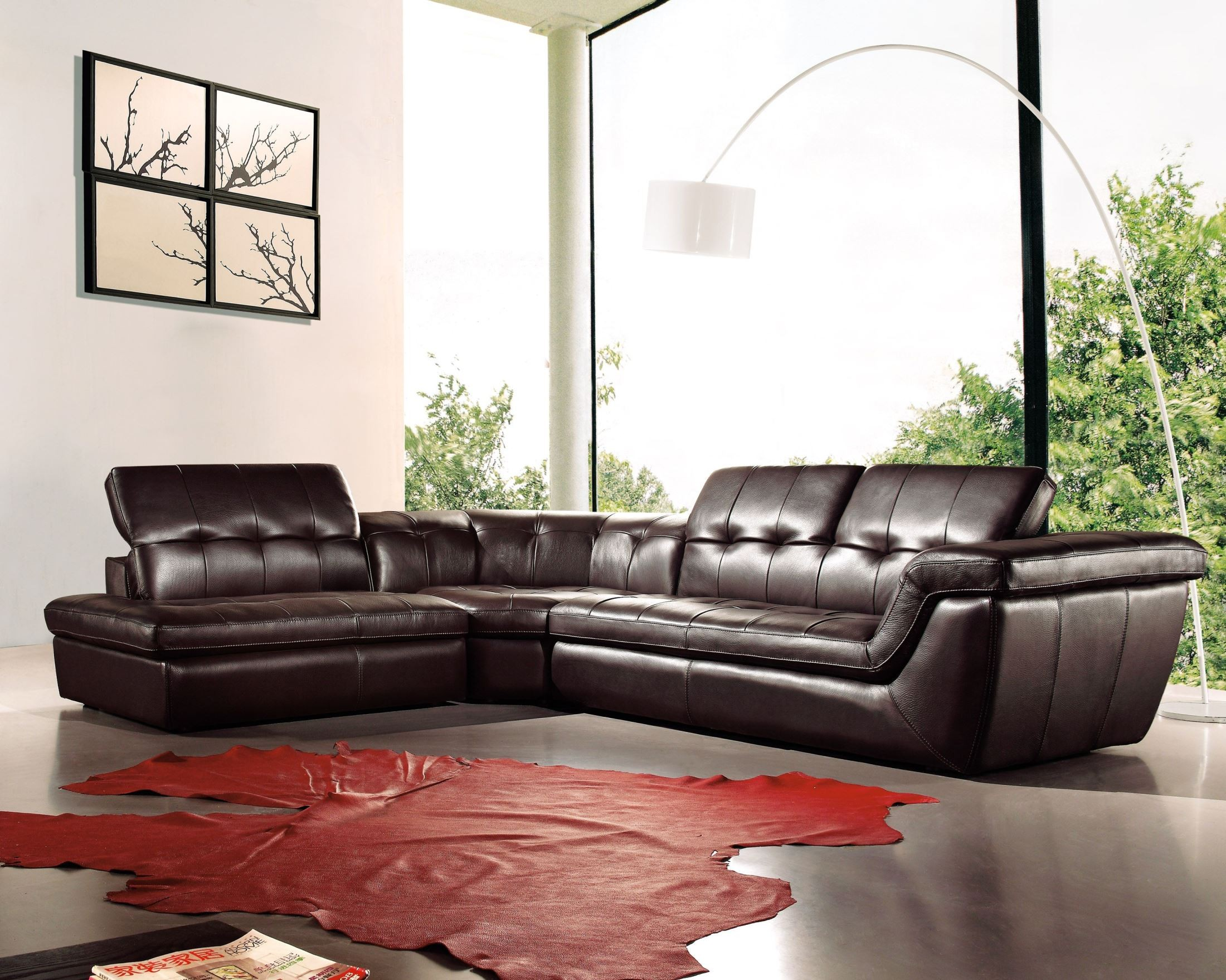 397 chocolate italian leather laf sectional from j m for Affordable furniture 3 piece sectional in jesse cocoa