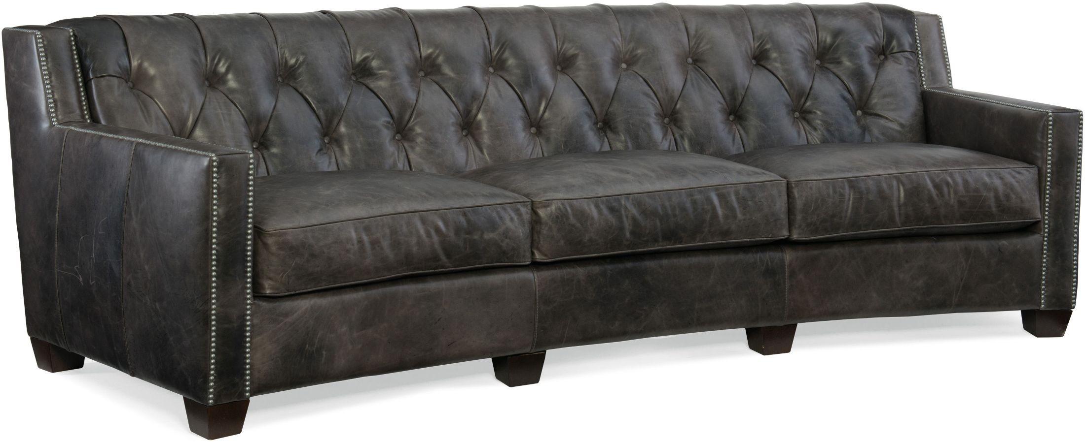 Trellis Gray Leather Sofa