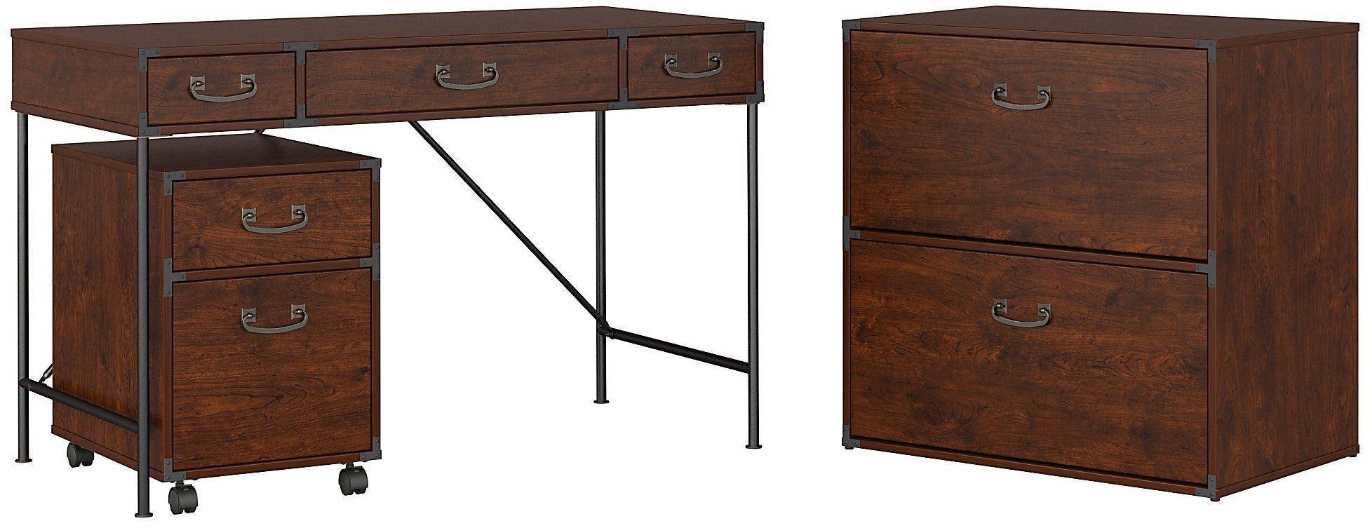 Ironworks coastal cherry quot writing desk with drawer
