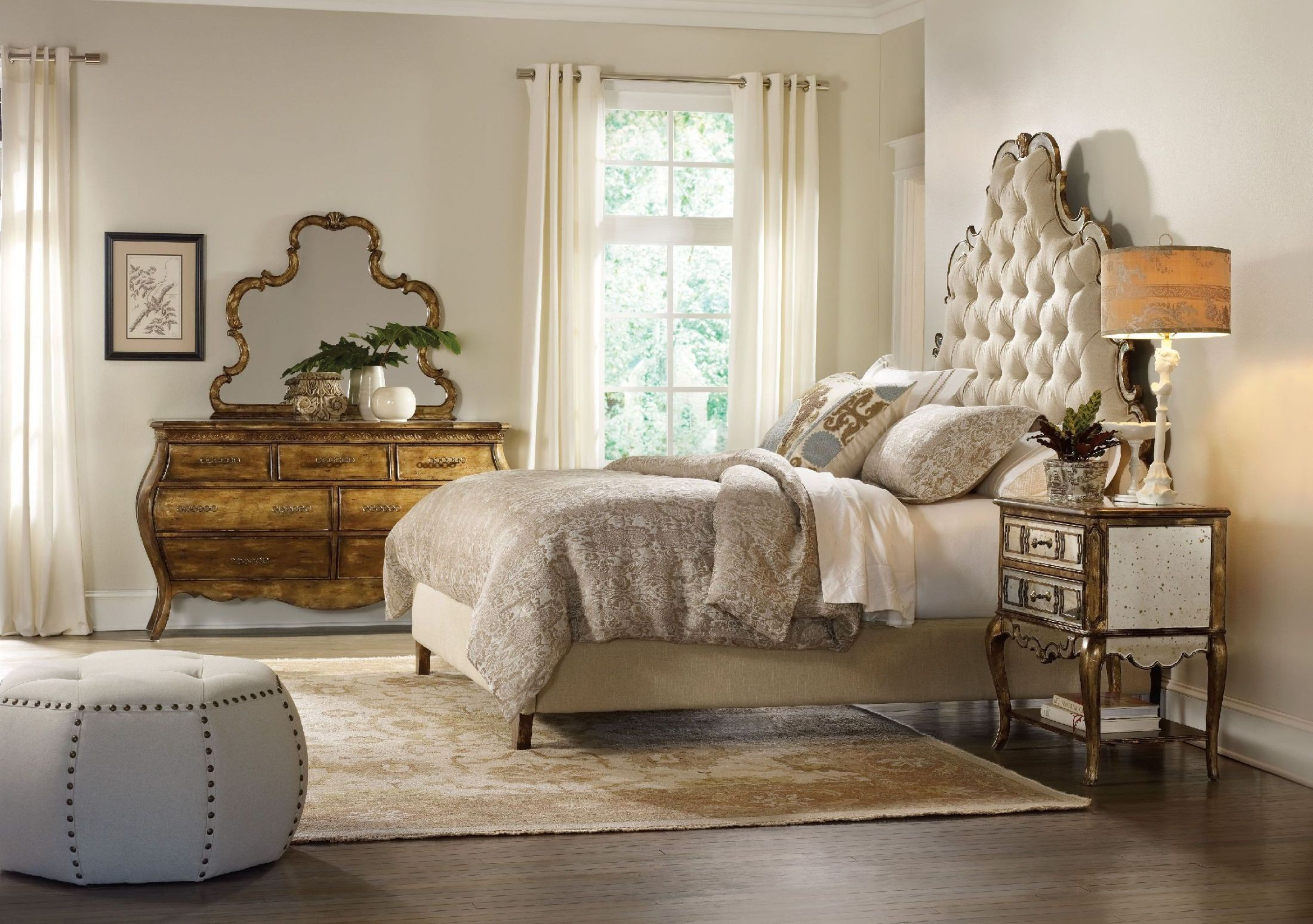 sanctuary beige bling tufted platform bedroom set from