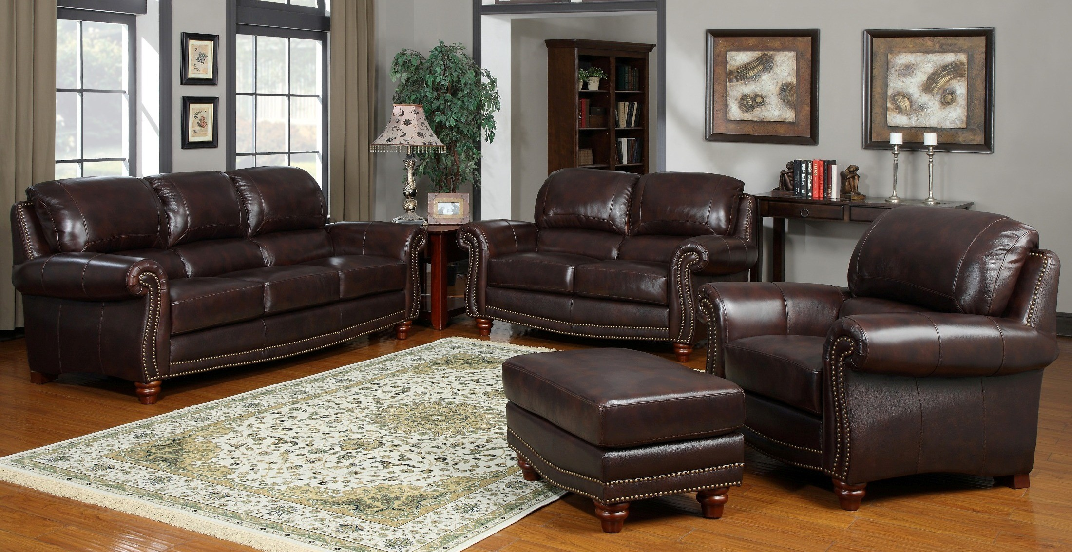 James tobacco living room set from leather italia for Front room sets