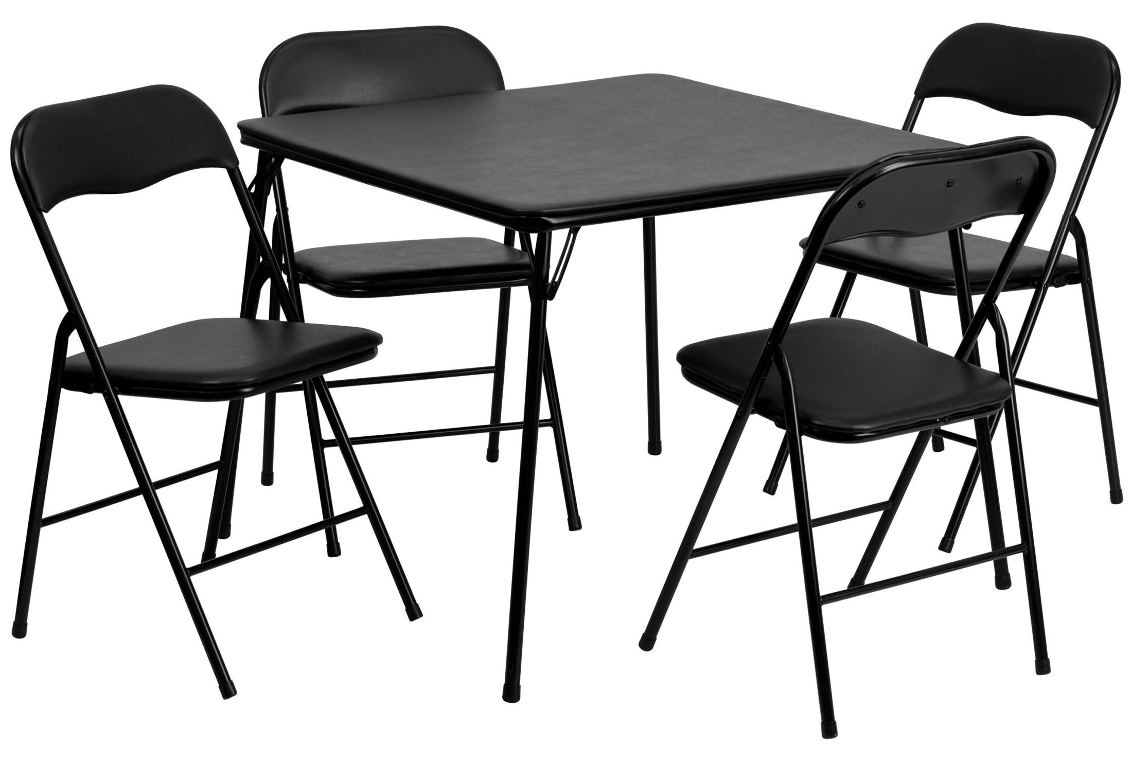 5 Piece Black Folding Card Table And Chair Set From
