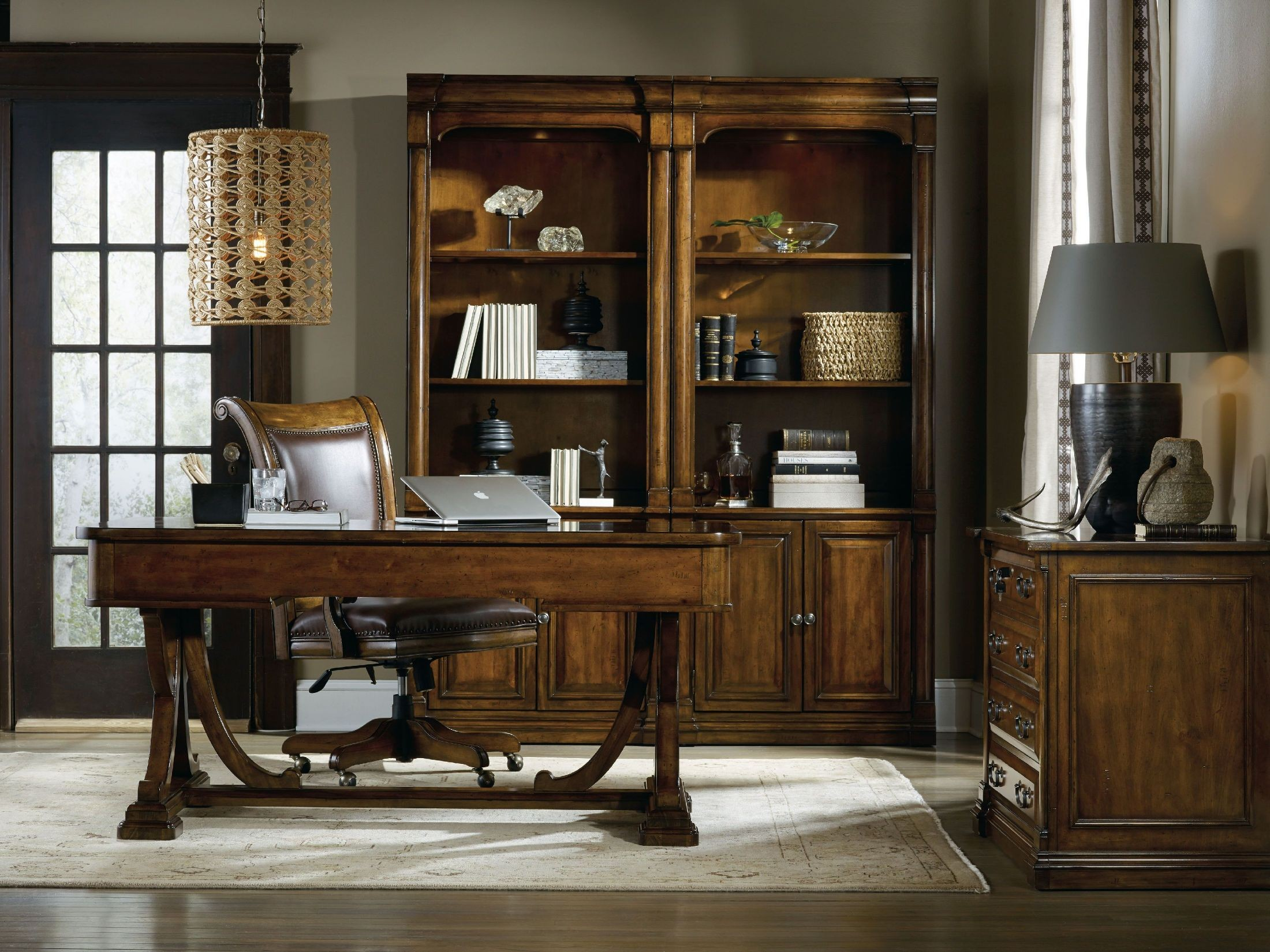 Office Furniture: Tynecastle Brown Writing Home Office Set From Hooker