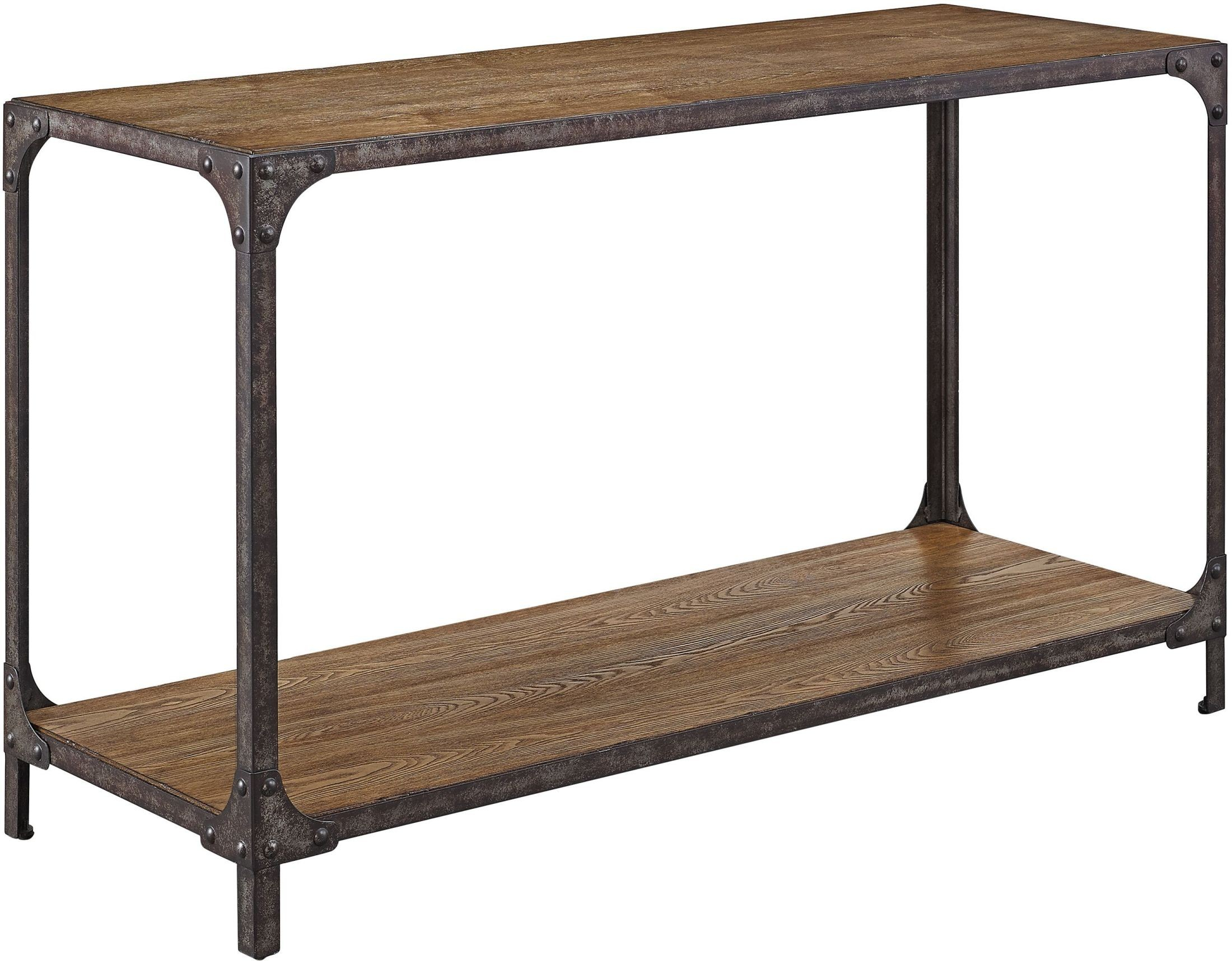 Irwin wood and metal sofa table from pulaski coleman for Metal and wood console tables