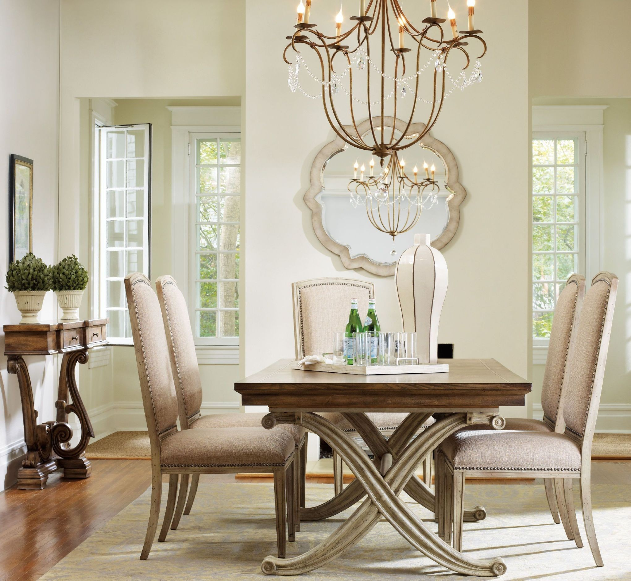 Cream Dining Set: Sanctuary Cream And Brown Rectangular Dining Room Set From