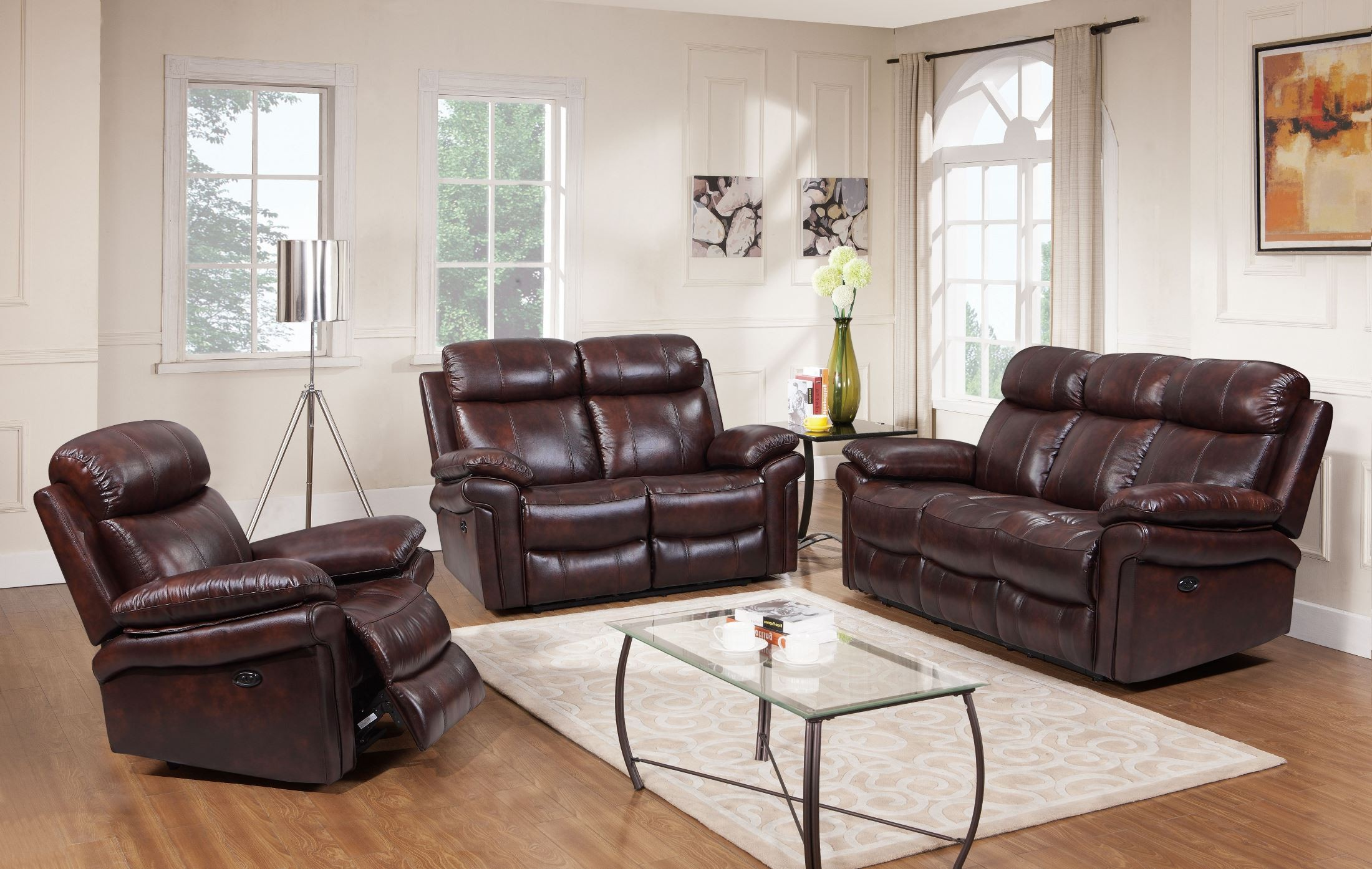 Shae joplin brown leather power reclining living room set for Front room furniture sets