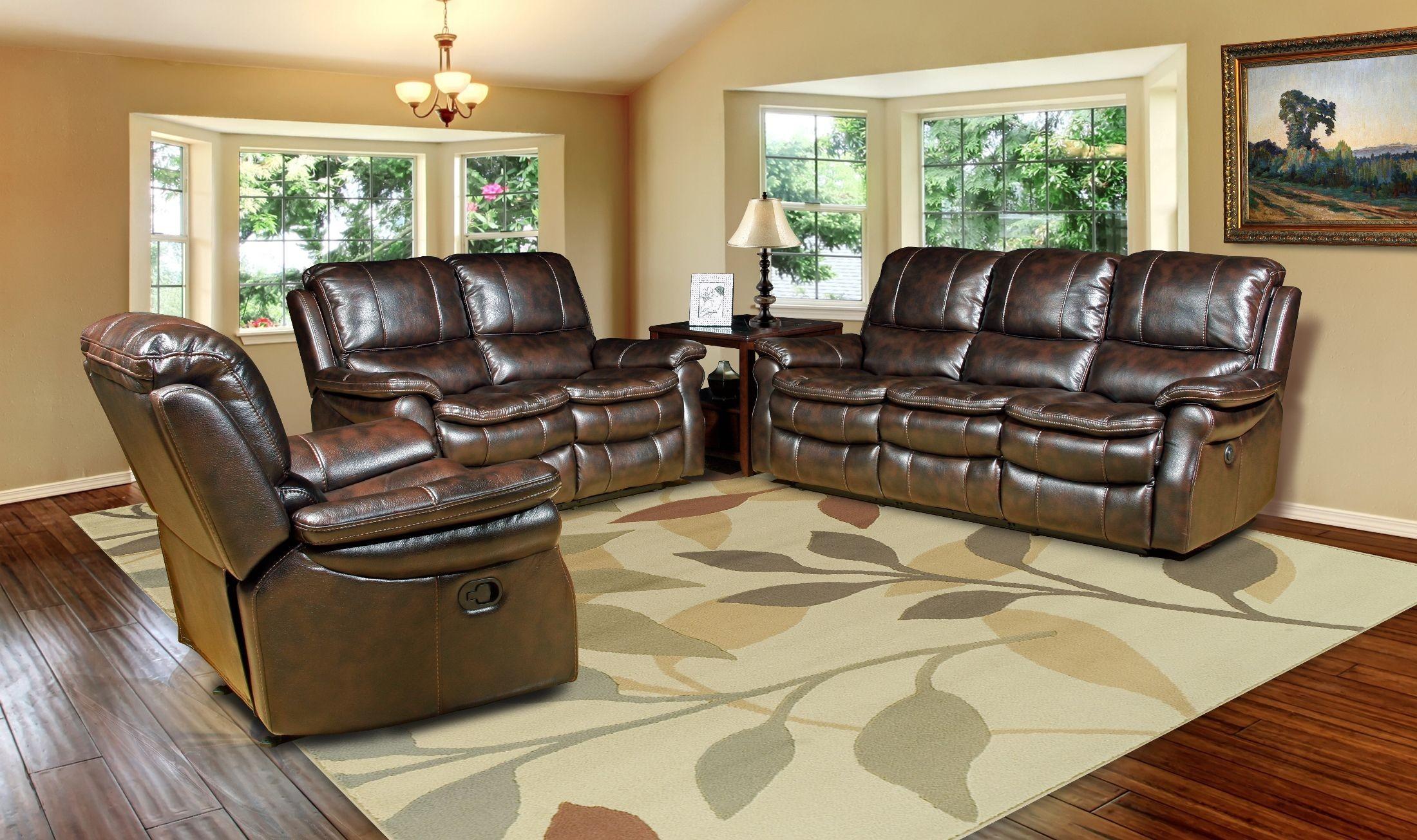 Juno Nutmeg Dual Power Reclining Living Room Set From