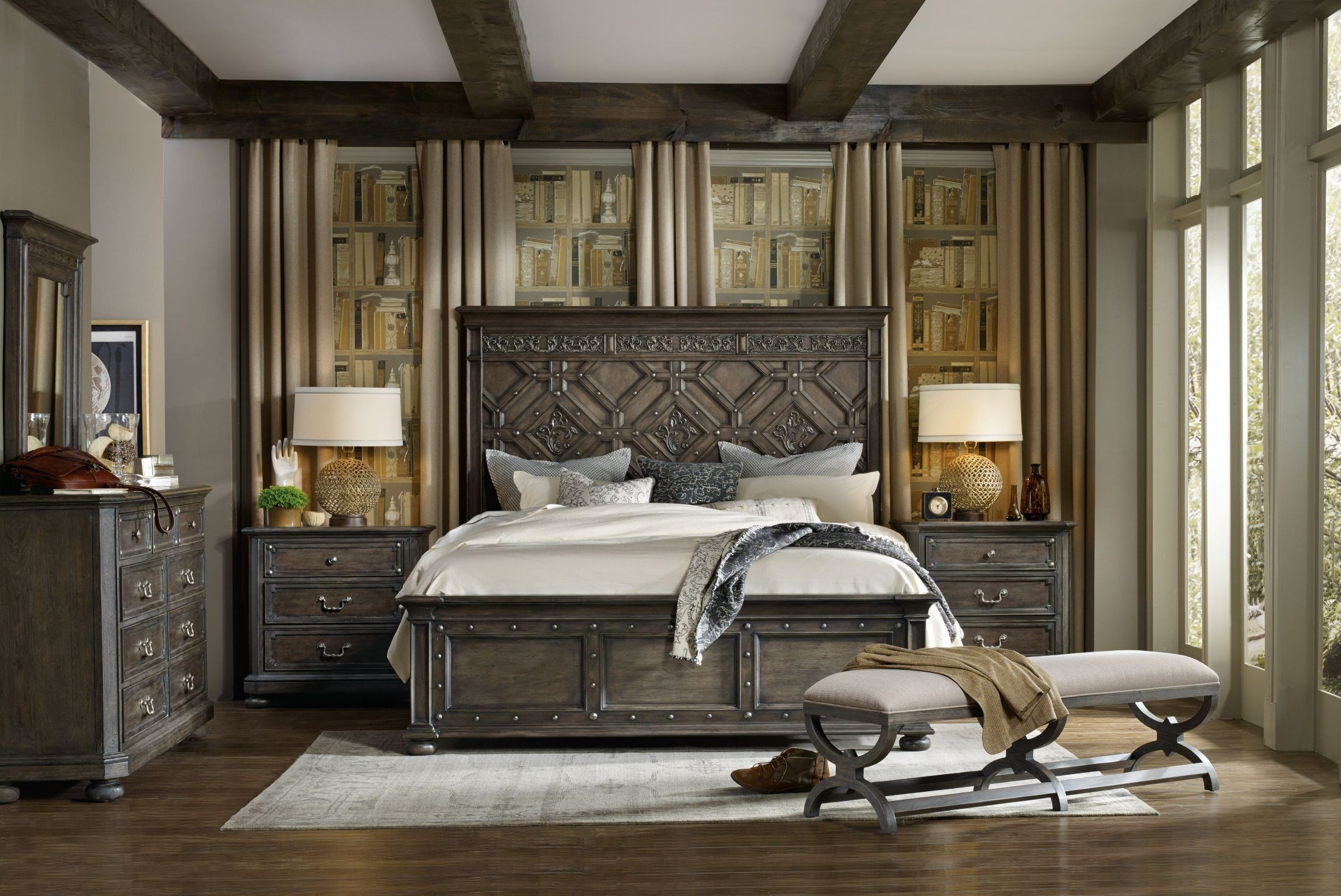 Vintage West Charcoal Gray Wood Panel Bedroom Set From