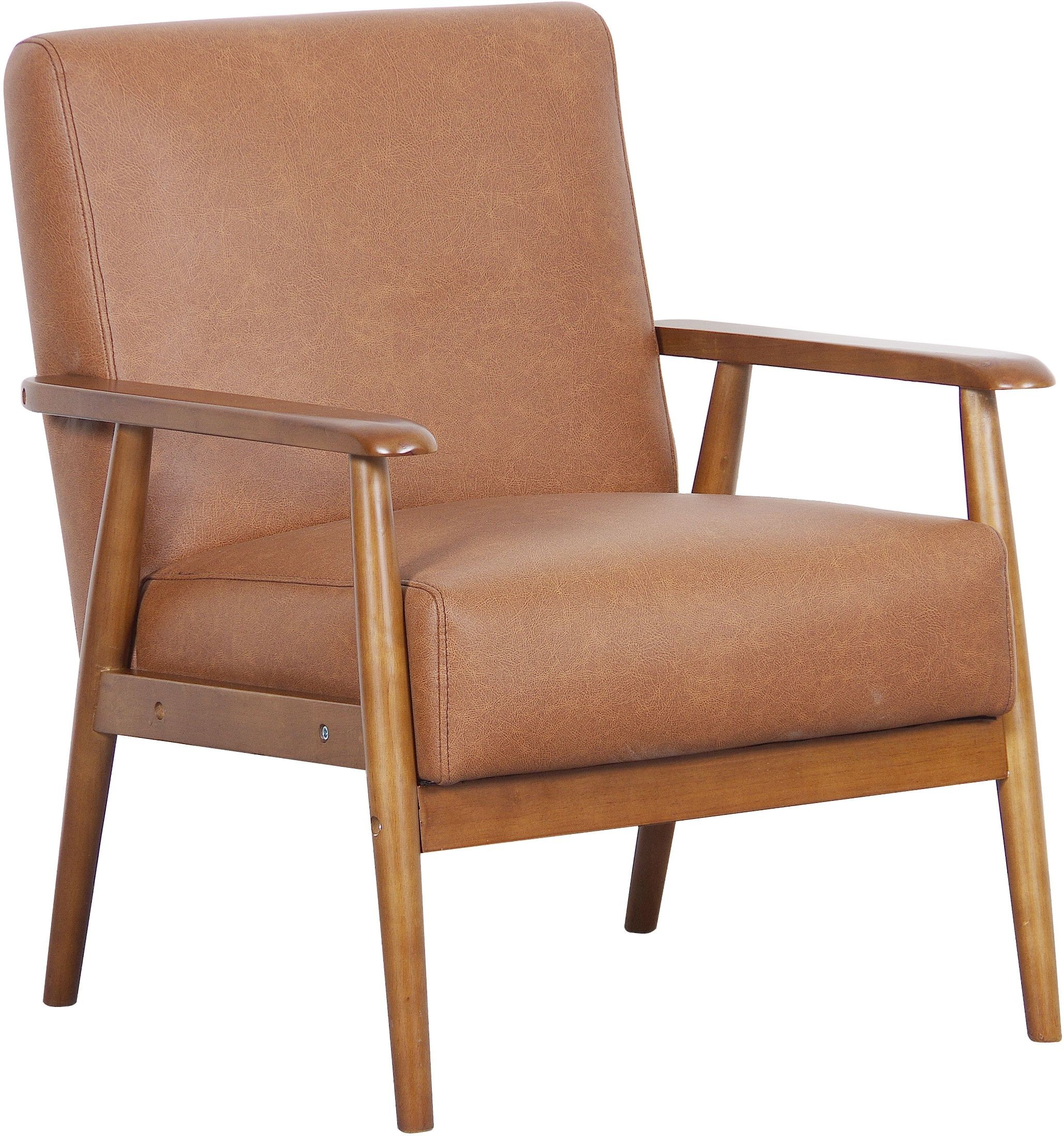 X. Lummus Cognac Wood Frame Upholstered Accent Chair