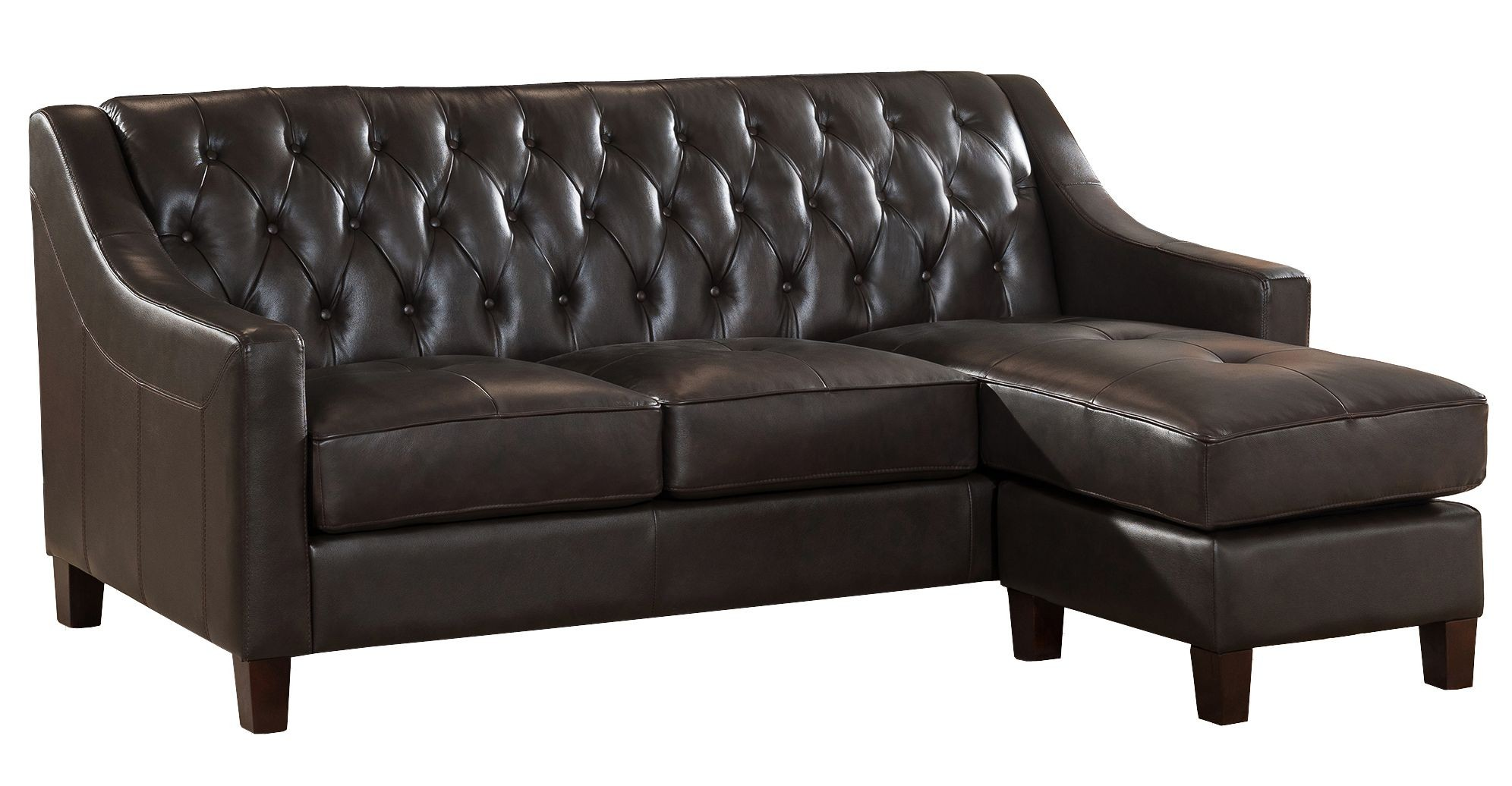 Kaitlyn brown leather reversible sofa chaise from amax for Brown leather chaise