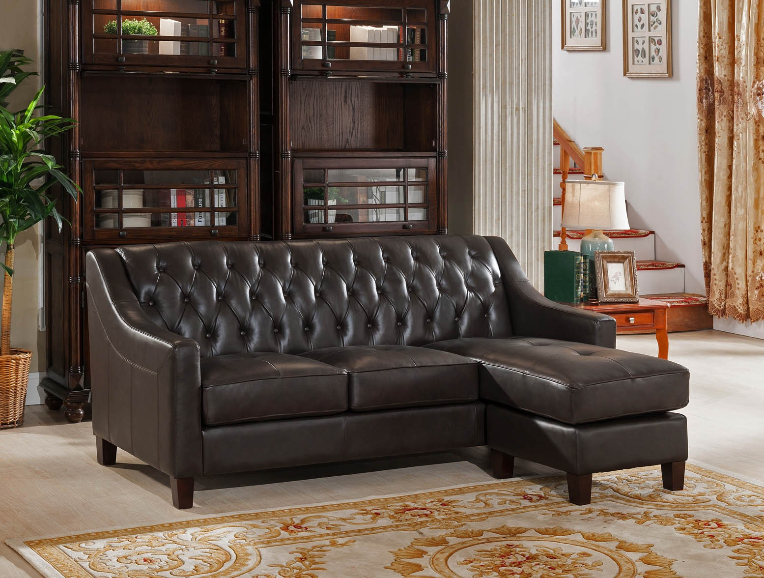 Kaitlyn brown leather reversible sofa chaise from amax for Brown leather chaise sofa