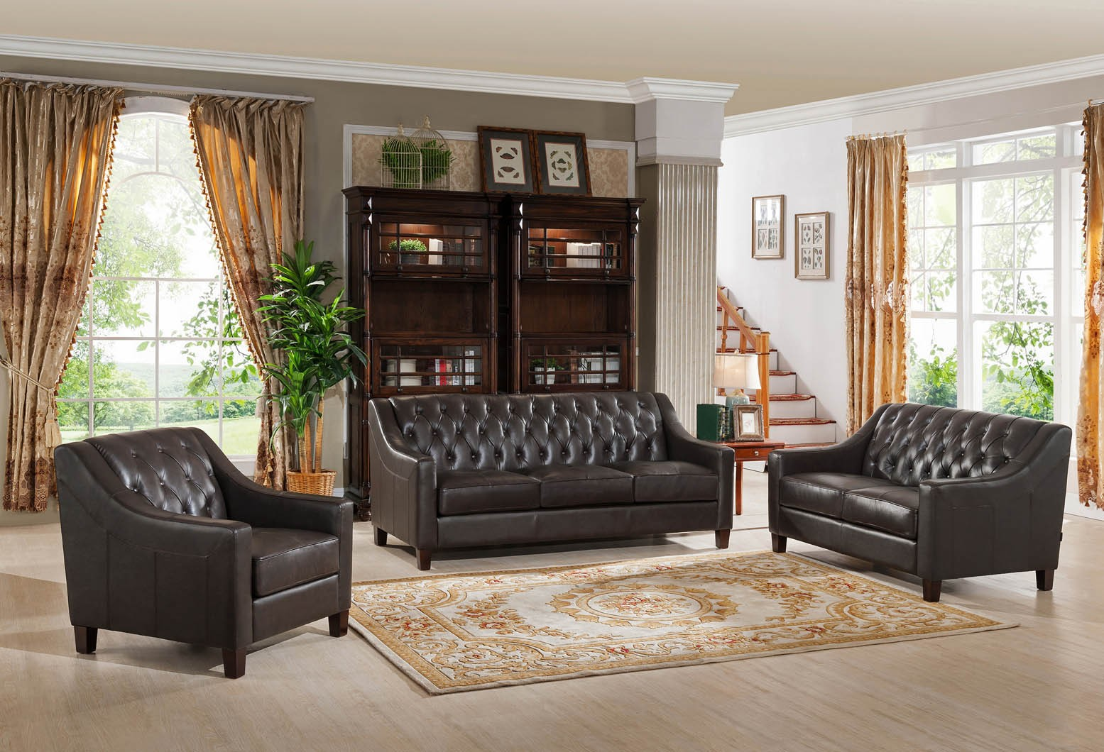 Kaitlyn brown 3 piece leather living room set from amax for Three piece leather living room set