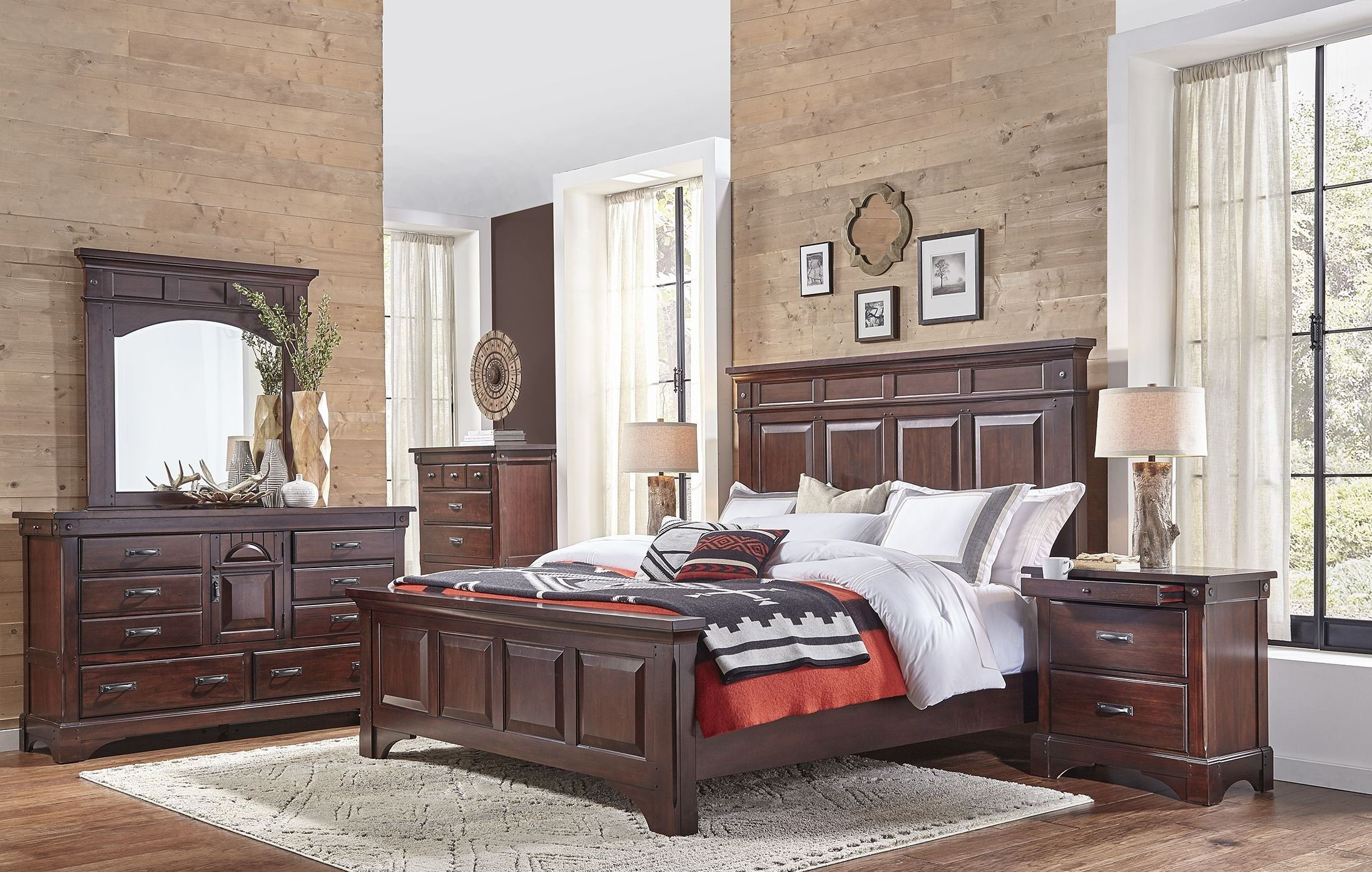 Kalispell Rustic Mahogany Mantel Bedroom Set From A America Coleman Furniture